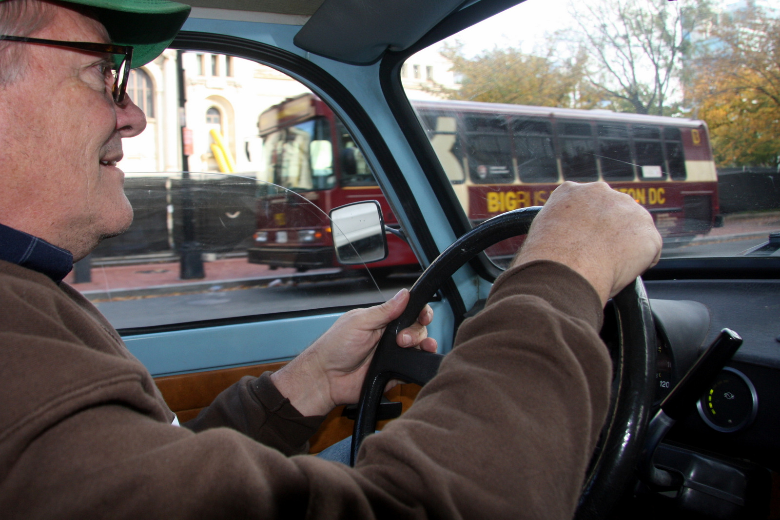 Fr. Kevin Mueller, a priest from Baltimore, at the wheel of his 1985 Trabant 601