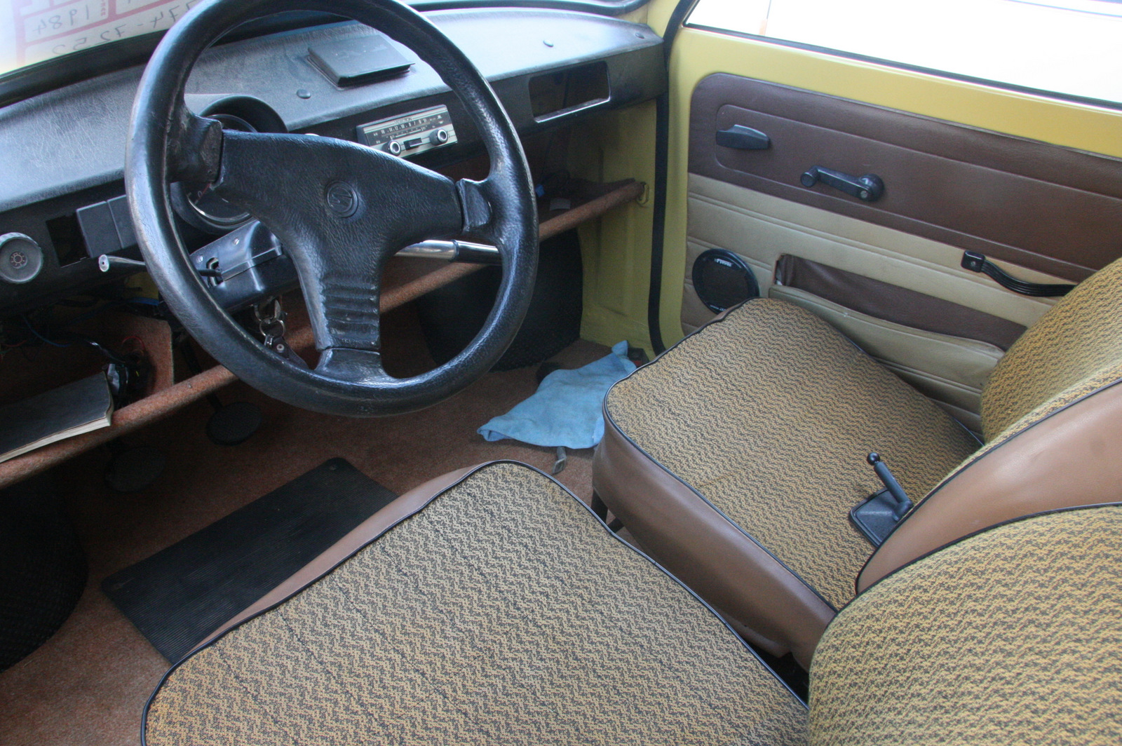 A Trabant interior is spartan, even by Volkswagen Beetle standards.