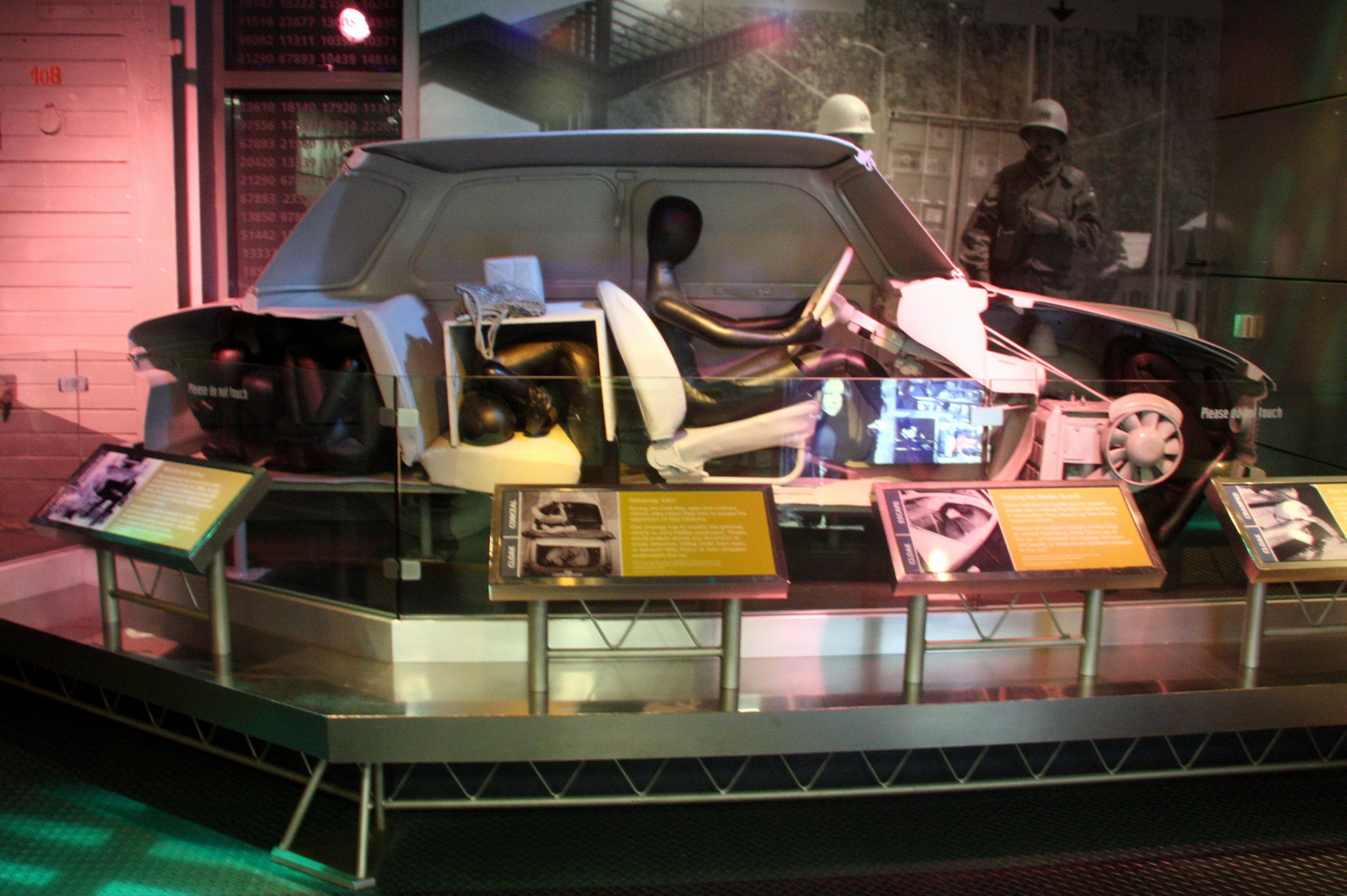 A cutaway Trabant inside the International Spy Museum shows how East Germans would have smuggled people out of the country.