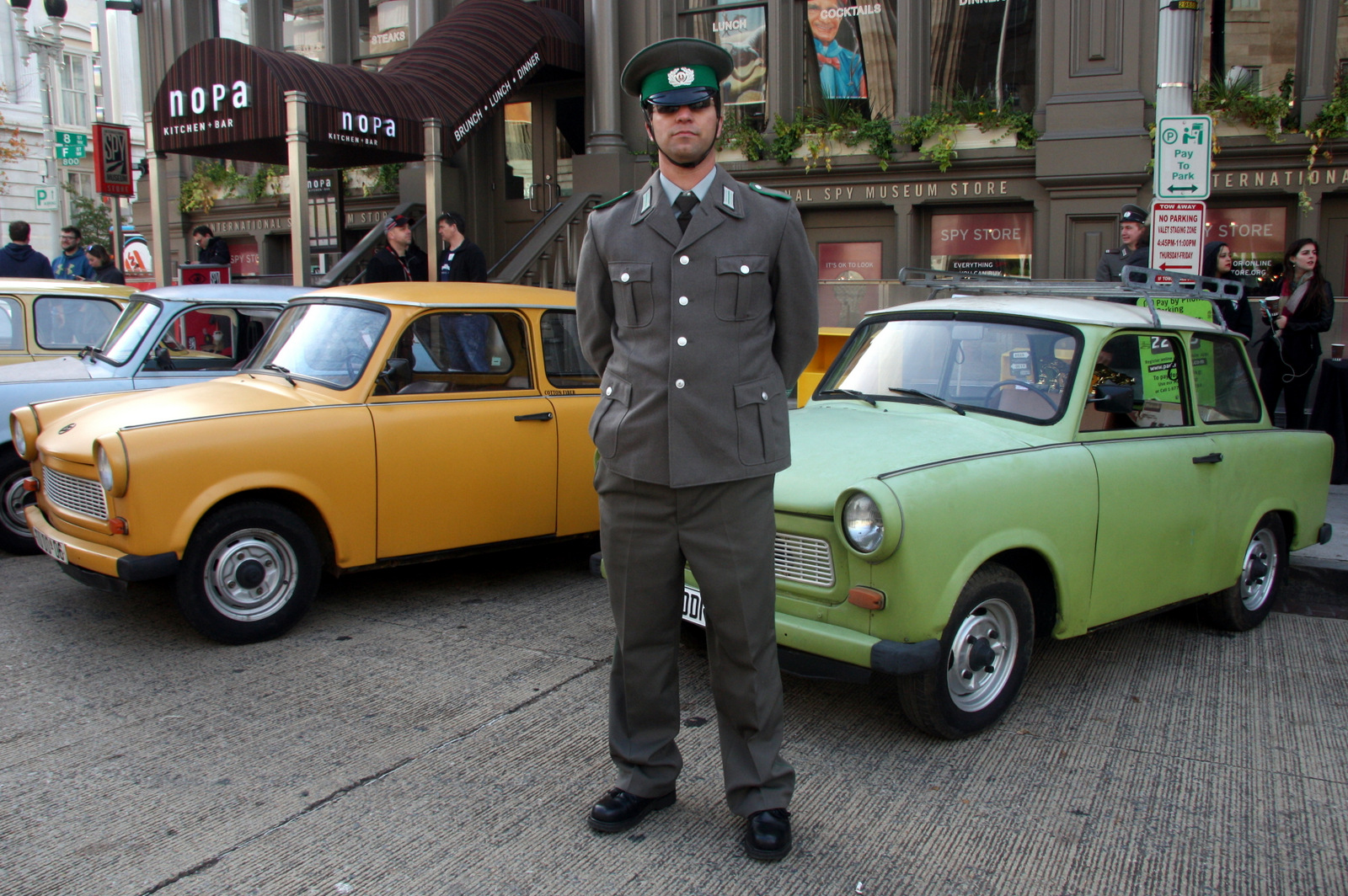 Due to mechanical problems, David Gallagher's Trabant didn't make it, but he turned up at the Parade of Trabants in an East German uniform.