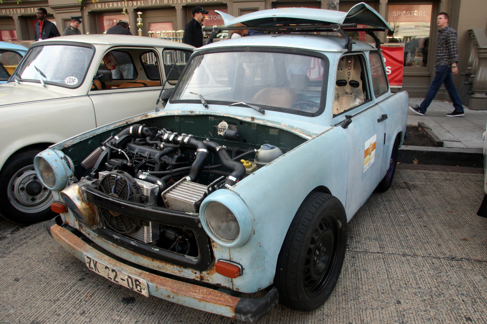 Lightweight Trabants have long been popular with tuners. This one is outfitted with a Volkswagen turbodiesel engine.