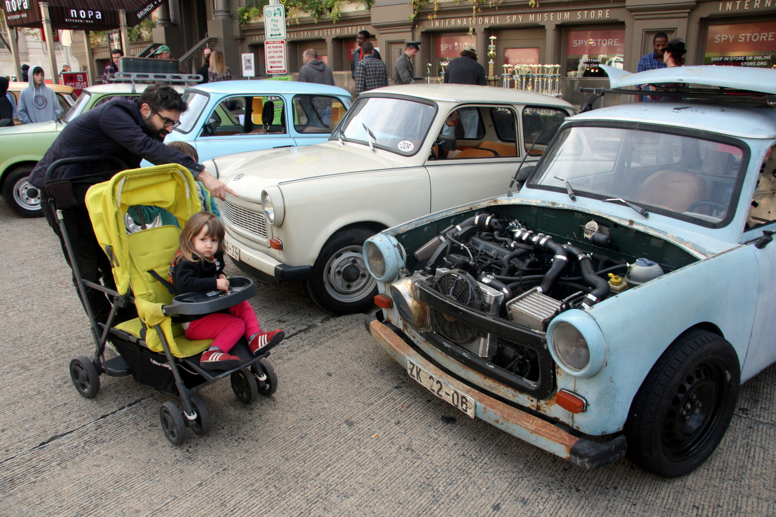Trabants don't have fuel pumps, so their fuel tanks are located up front, on top of the engine.