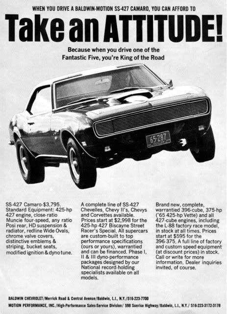 Baldwin Motion 1968 Chevrolet Camaro Advertisement