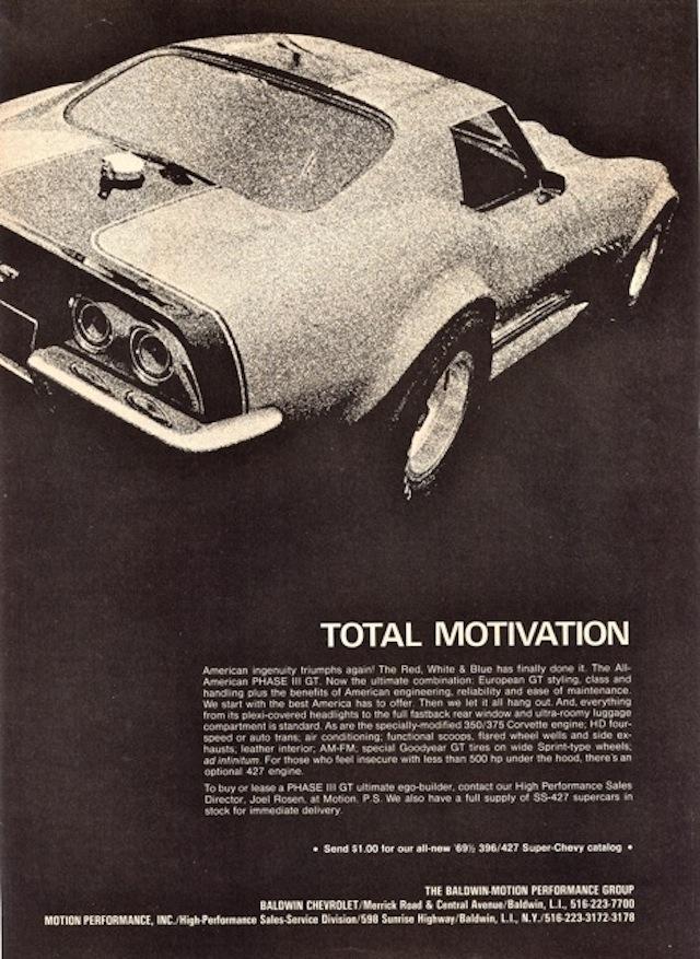 Baldwin Motion 1969 Chevrolet Phase III GT Corvette Ad