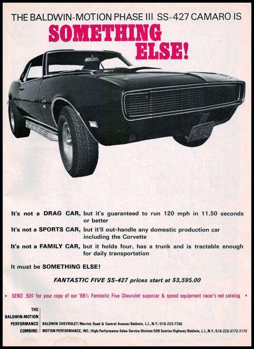 Baldwin Motion 1968 Chevrolet Phase III SS 427 Camaro Ad Advertisement