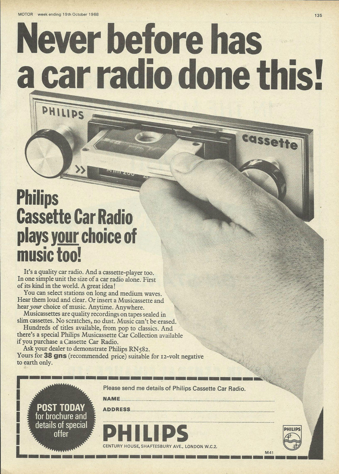 A 1968 ad for Philips' first in-dash cassette player, the RN582.