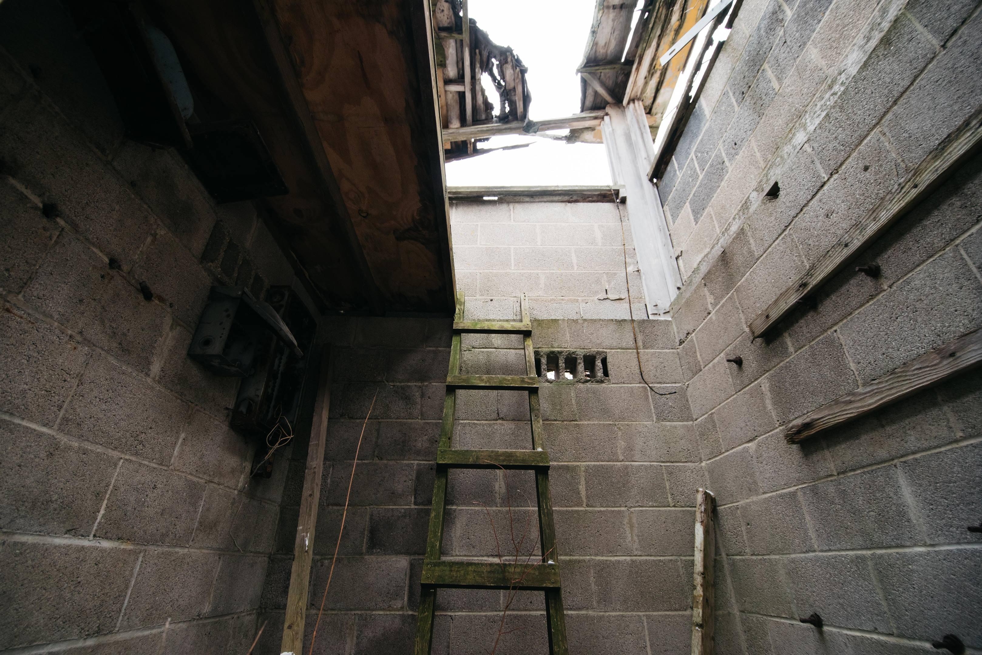 Motor City Dragway inside tower ladder