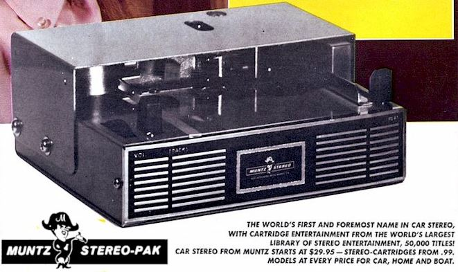 """An advertisement for the revolutionary Muntz Autostereo, which offered taped """"cartridge entertainment"""" for cars."""
