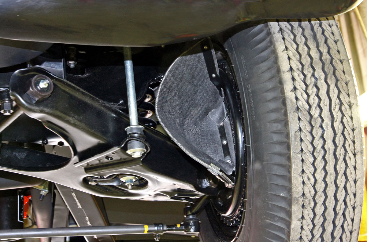 """Scoops known as """"elephant ears"""" directed air to cool the large front finned drum brakes. The brakes were part of the RPO 684 Heavy Duty Racing Suspension package, which cost $780.10."""