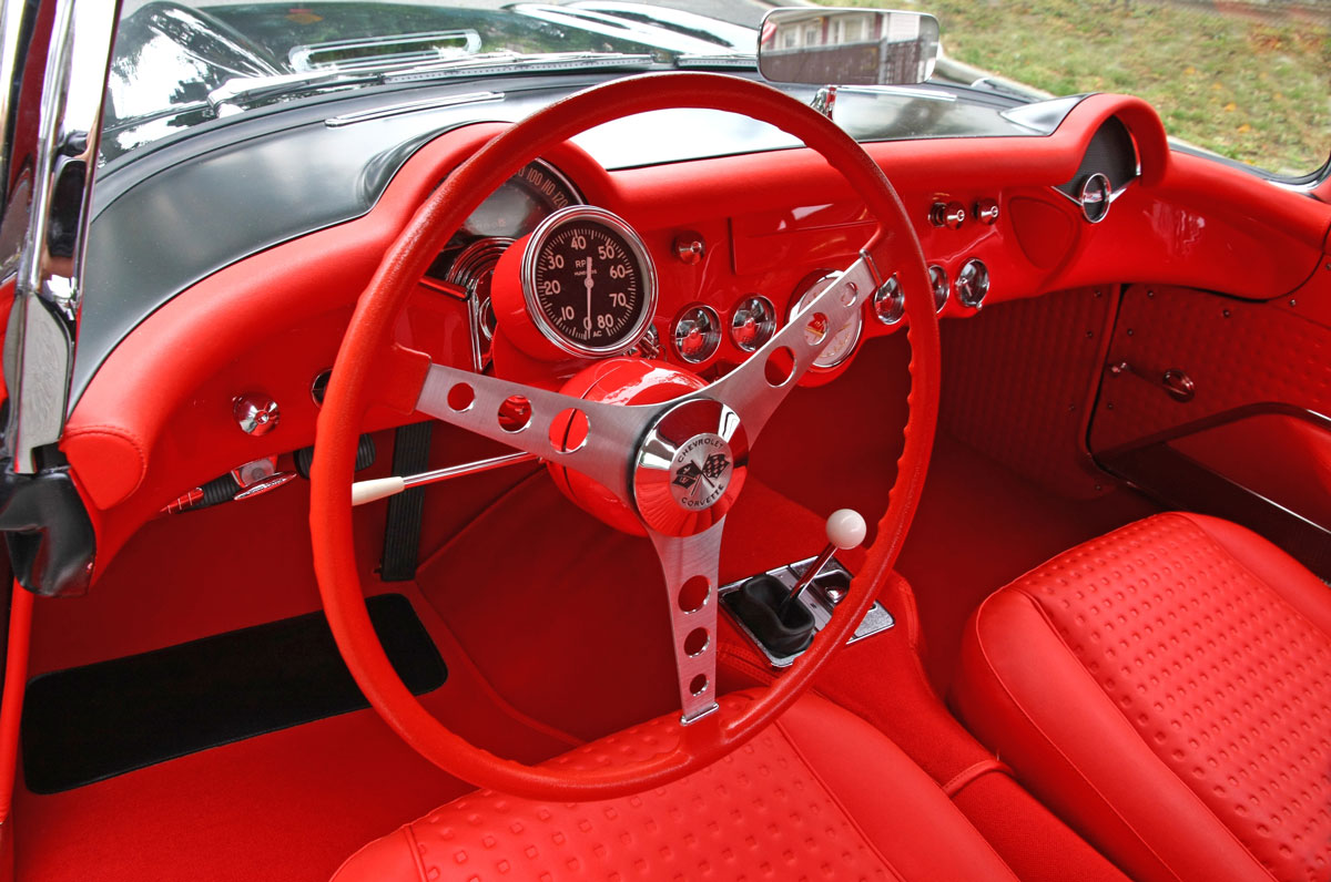 The 4-speed transmission was new for the 1957 Corvette. Tachometer attached to steering column was part of the airbox option package