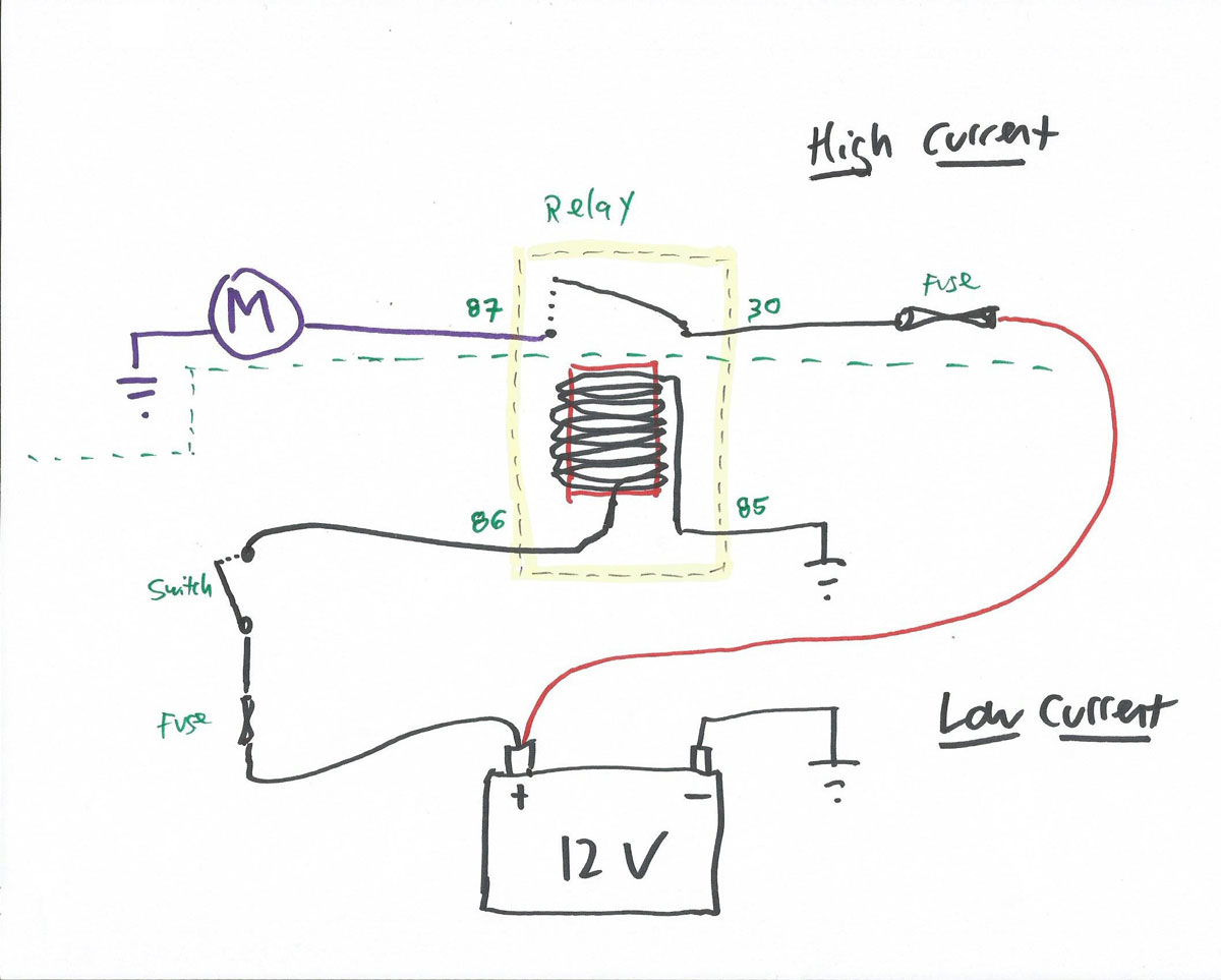A simple relay circuit labeled with DIN numbers.