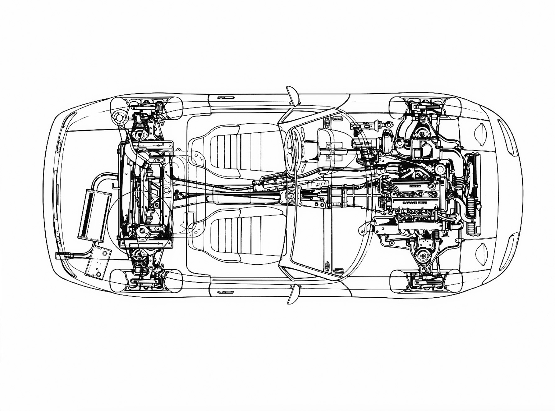 1990 mazda mx5 miata layout chassis seats engine drawing