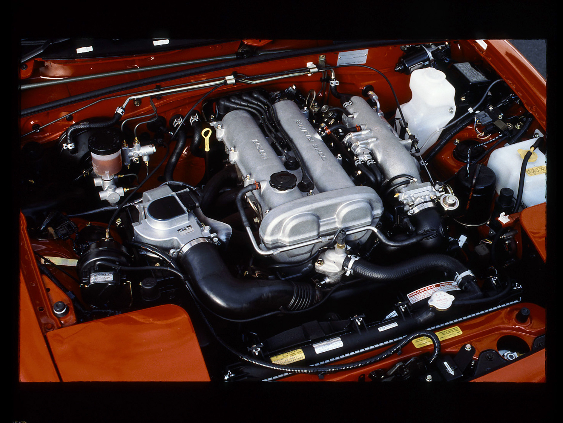 1990 mazda mx5 miata red engine underhood