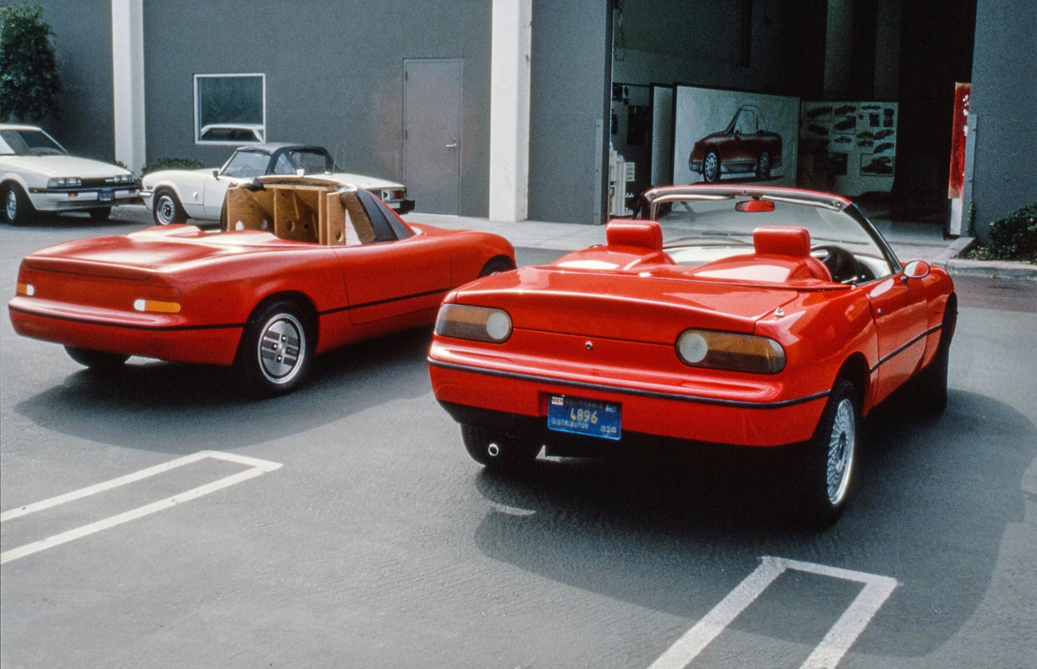 mazda mx5 miata red test design clay rear