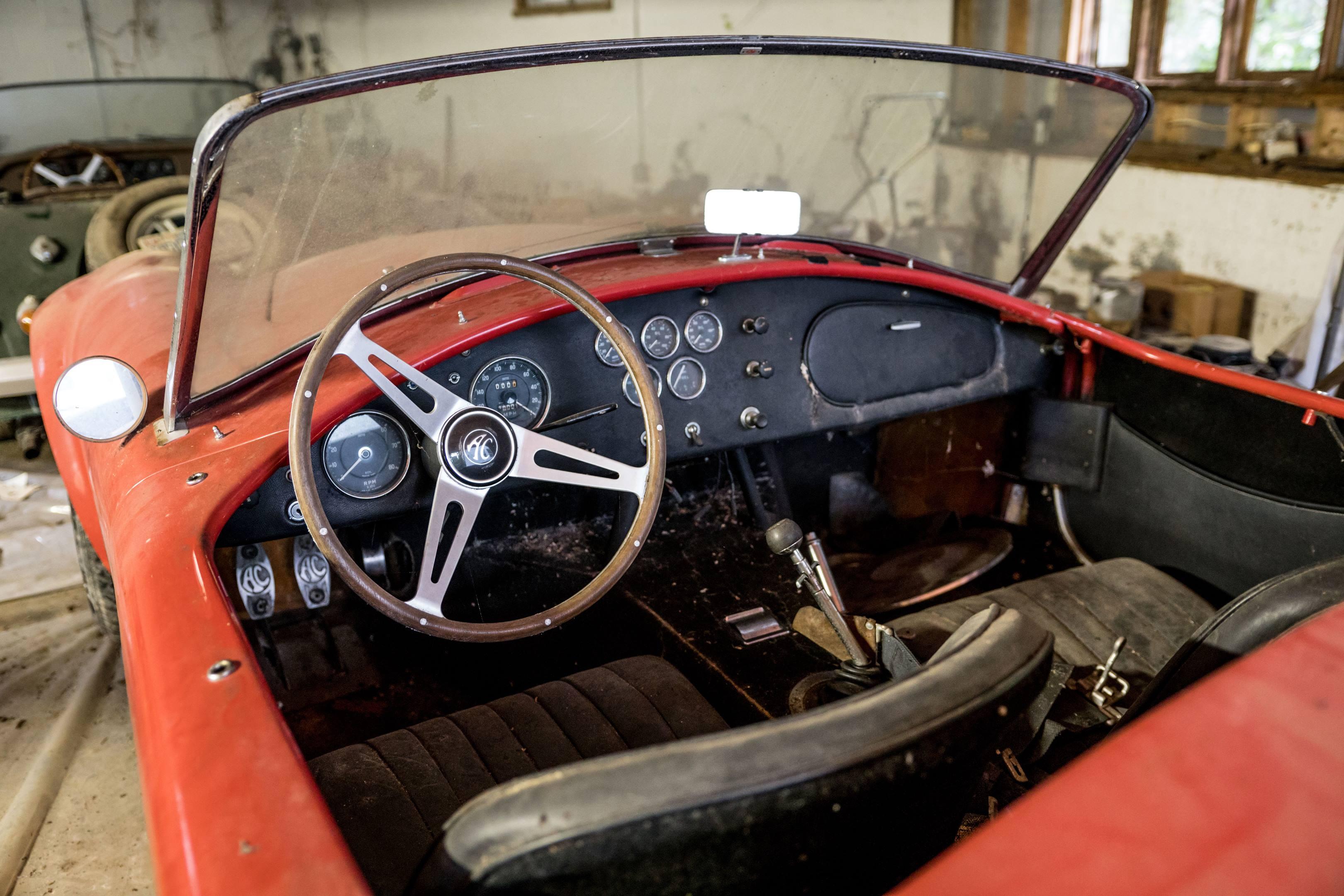 barn find 427 Shelby Cobra interior