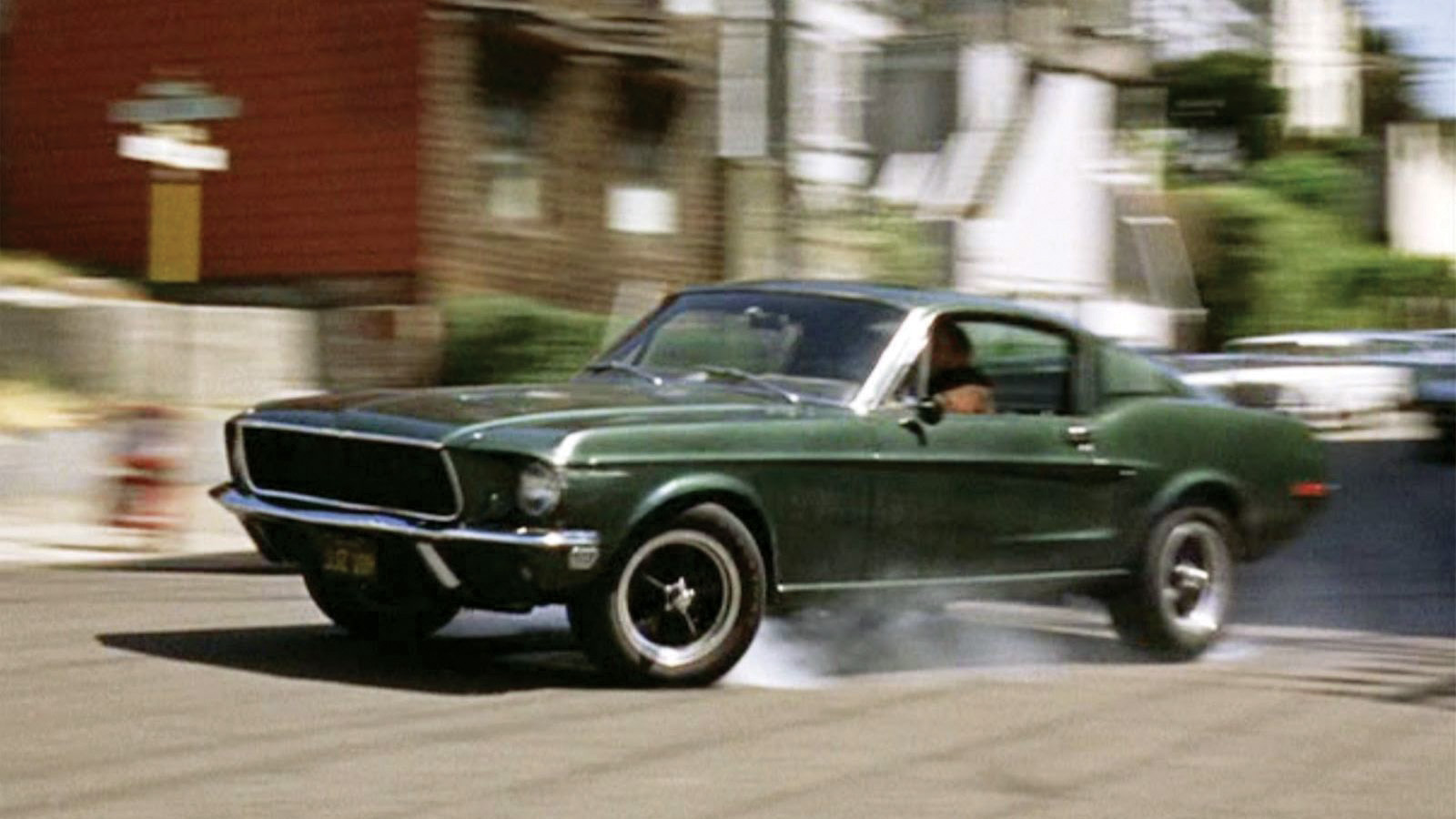 Bullitt chase sequence: The Mustang, its front end plowing, overshoots a turn, one of many cues that the action was real.