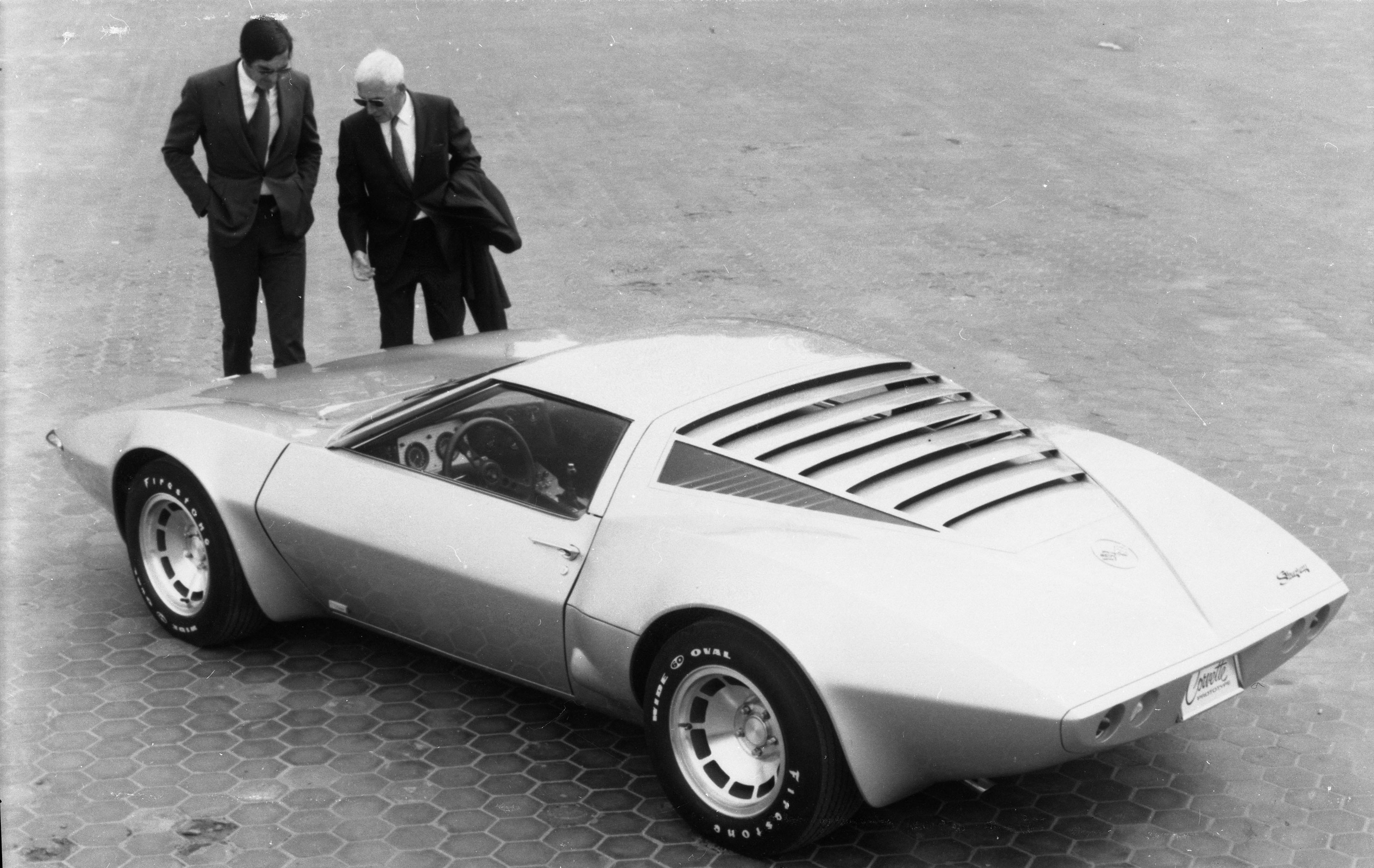 Zora Arkus-Duntov showing off the Aerovette