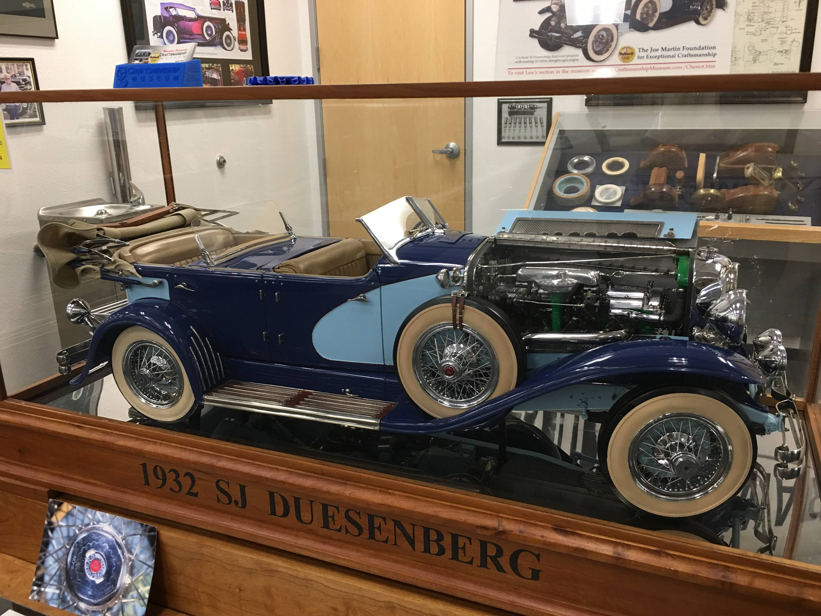 Louis Chenot of Missouri built this fully functional 1/6th scale Duesenberg SJ, including a dual overhead cam, 32-valve 2.0-cubic-inch straight eight that runs.