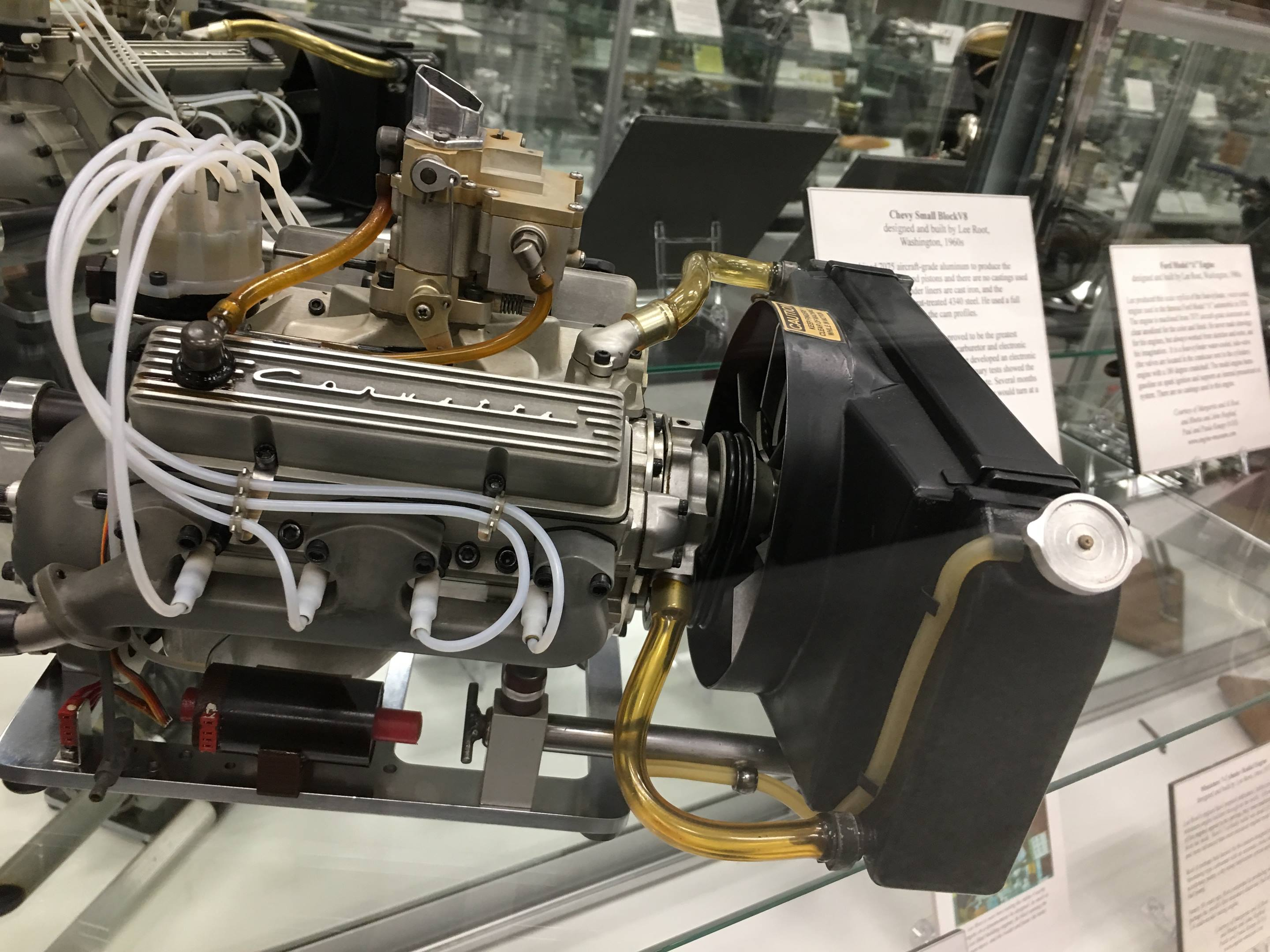Builder Lee Root machined 7075 aircraft-grade aluminum to make the crankcase, heads, rods, and pistons of this scale Corvette engine. Iron liners and a heat-treated steel crankshaft and cam with lobes profiled after a real racing Corvette engine allow it to reach 10,000 rpm.
