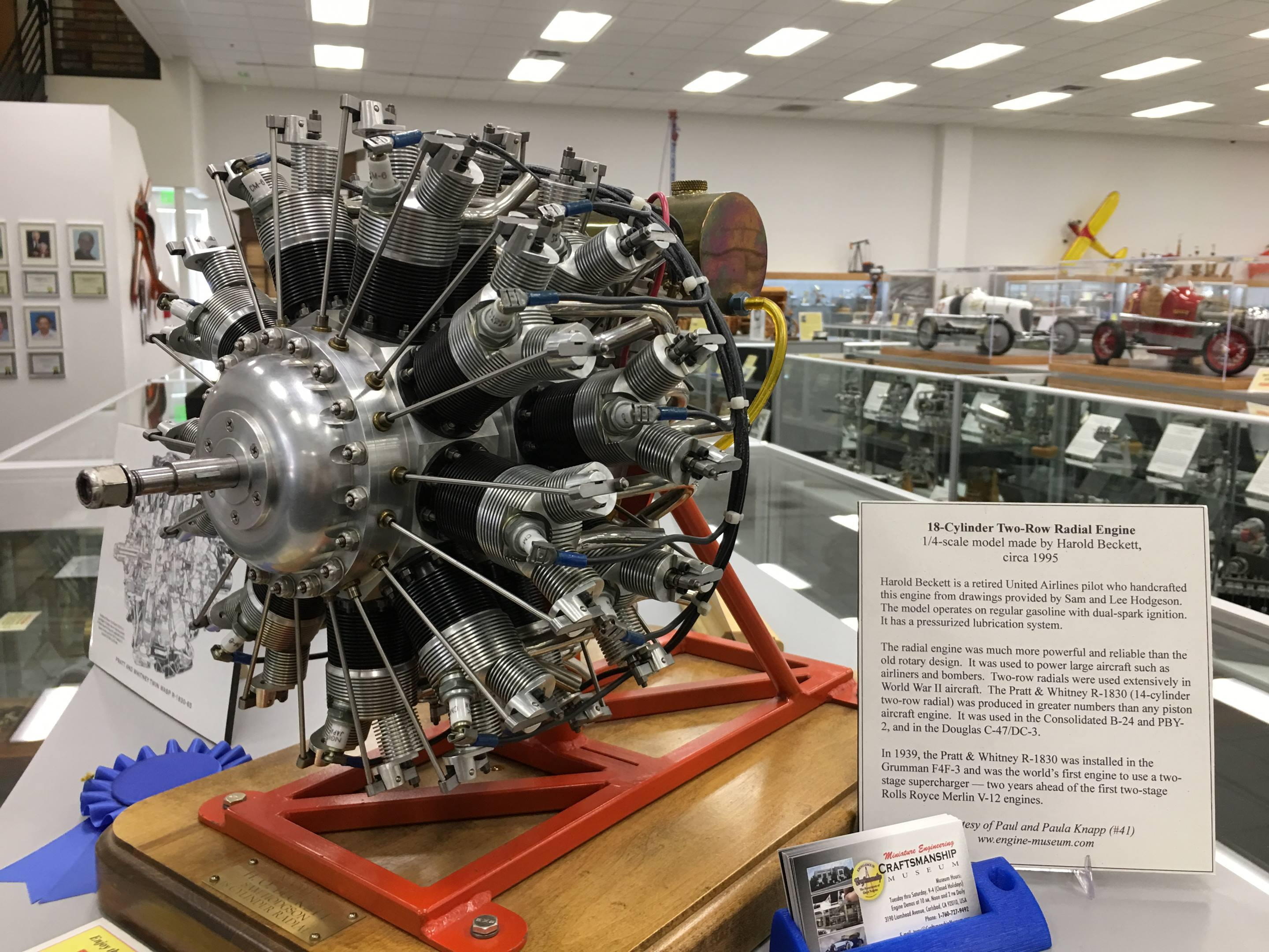 Retired United Airlines pilot Harold Beckett built this ¼-scale radial aircraft engine that evokes the radial engines of WWII, with dual spark ignition and a pressurized lubrication system.
