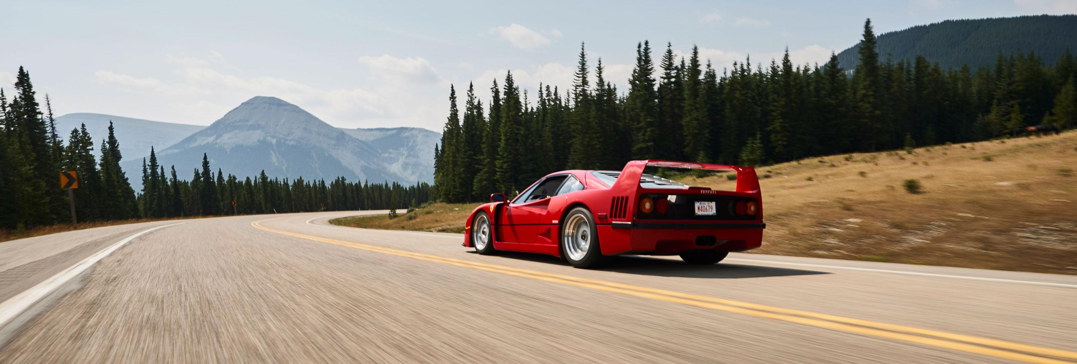 Brendan McAleer driving his dream car, a Ferrari F40