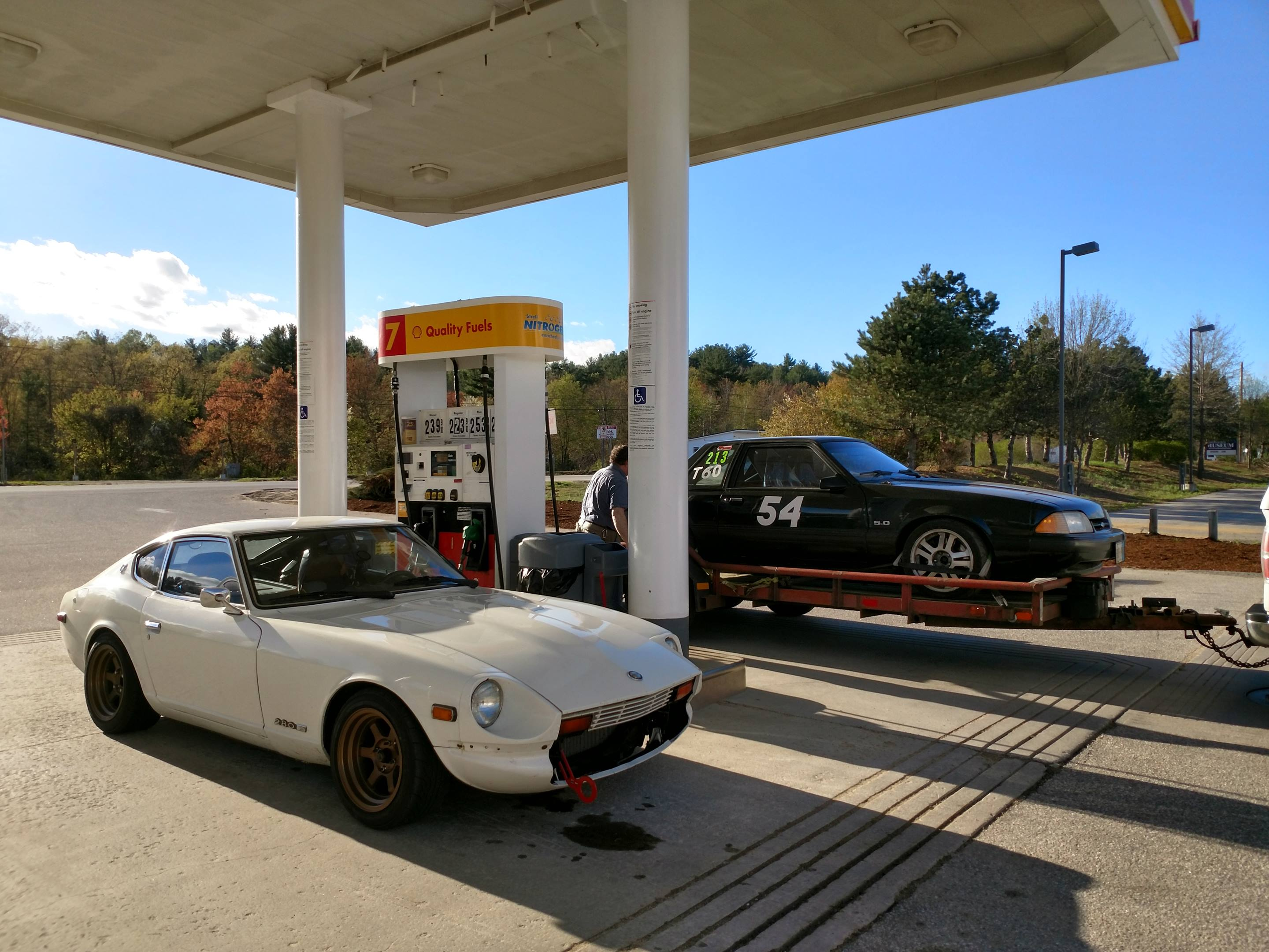 1978 Datsun 280Z fueling up before hitting the track