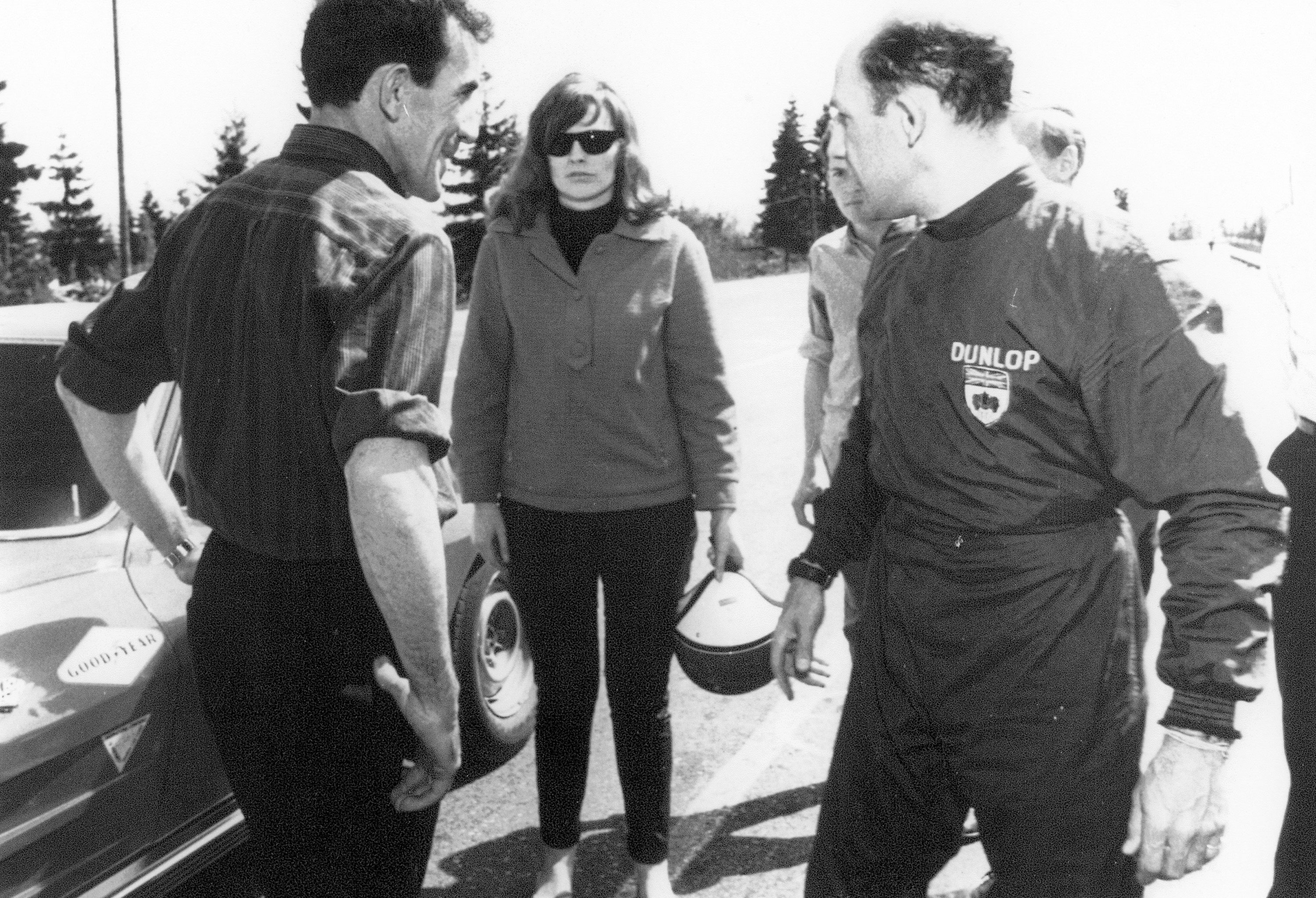 Stirling Moss discussing driving our corvette with LC Westwood 1965