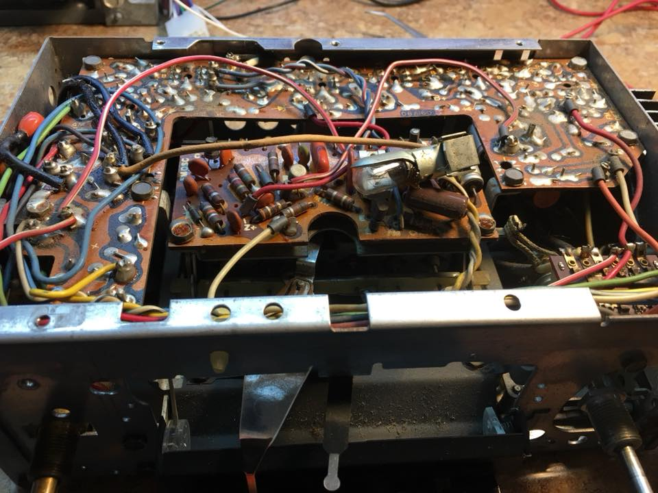 Solid-state tuner and Bluetooth conversion from a Buick Wildcat radio. before the conversion.