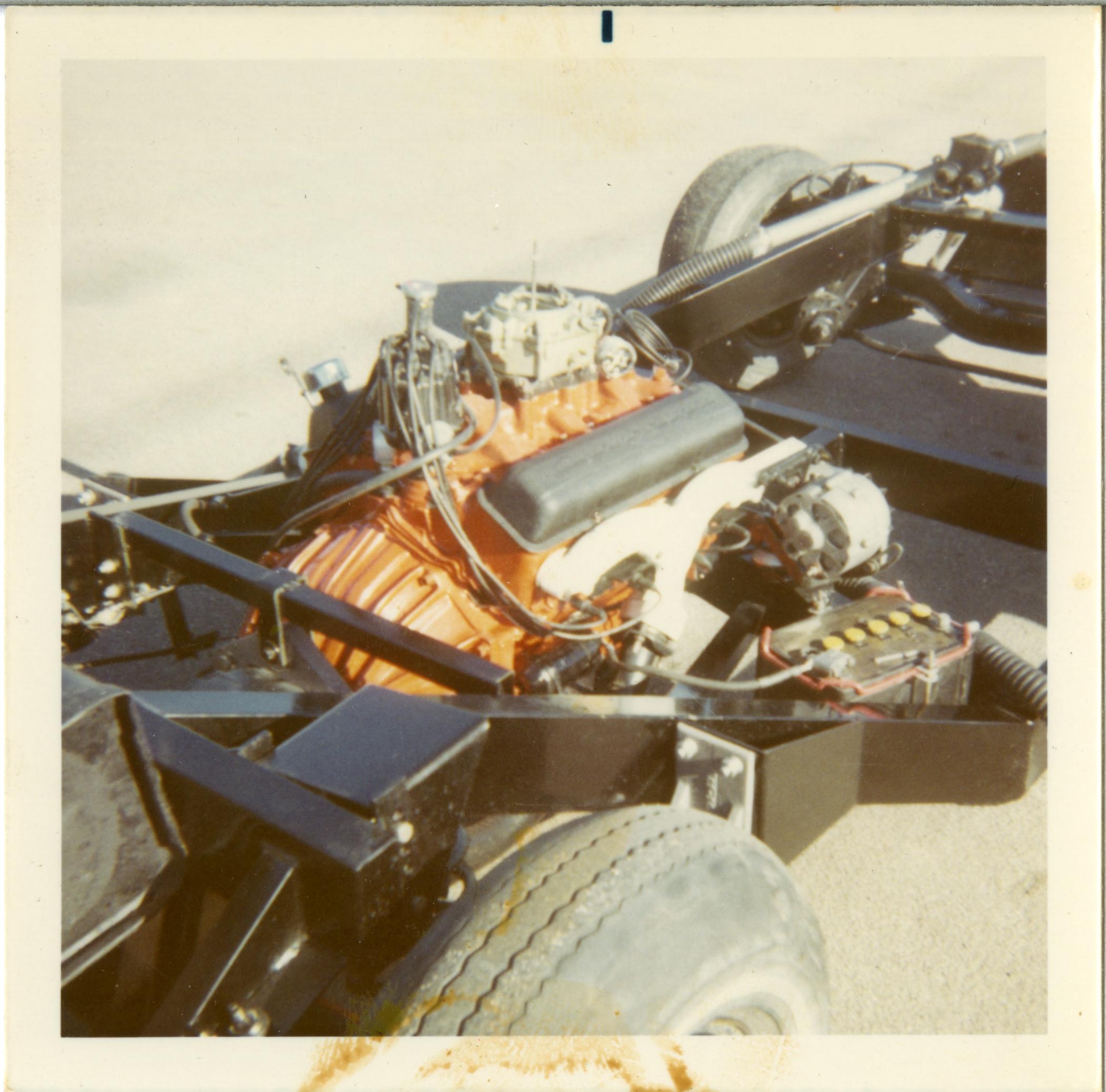 vintage picture of a Corvette engine