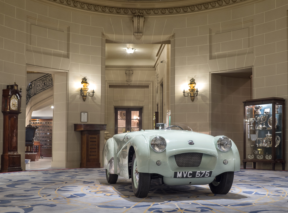 The TR2 on display at the Royal Automobile Club in London