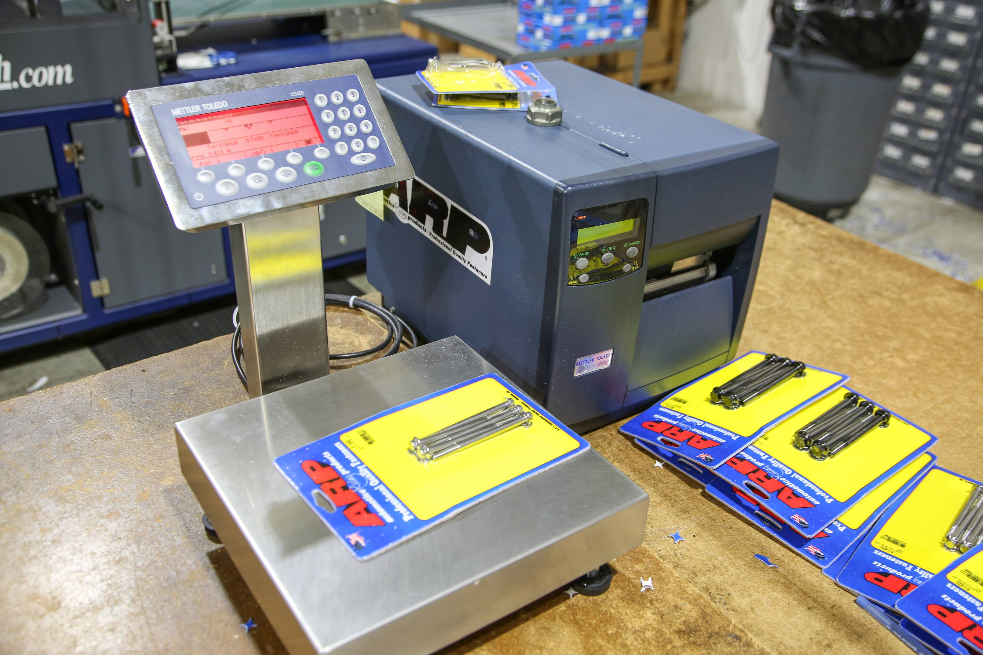 The final stage of production is packaging, where parts receive their label. This scale ensures that each package has the proper components before the corresponding label is printed.