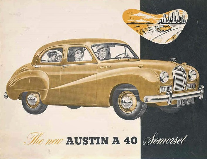 The cover of the 1952 Austin A40 catalog.