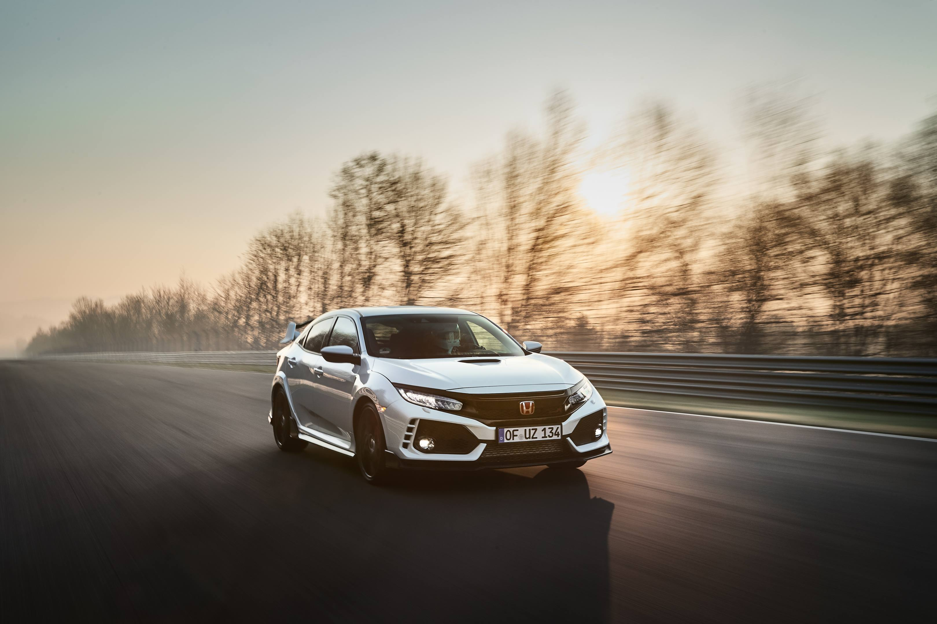 2017 Honda Civic Type R front 3/4 on the track