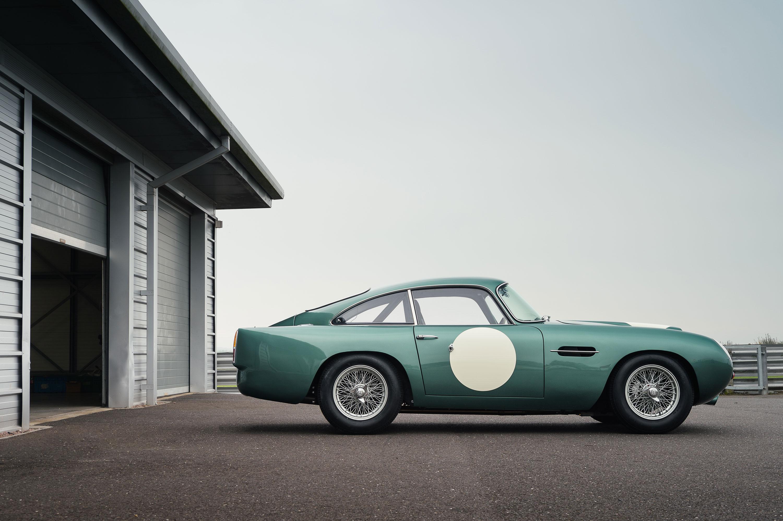 1959 Aston Martin DB4 GT profile by the garage