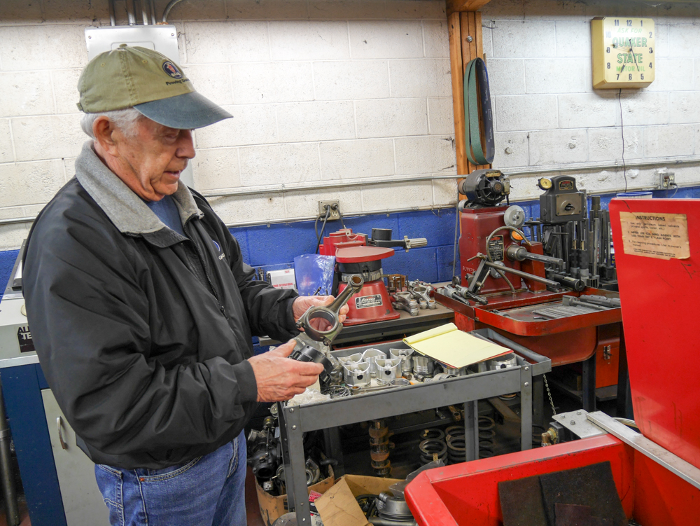 Small will still retreat to his machine shop to work on parts for customers' cars.