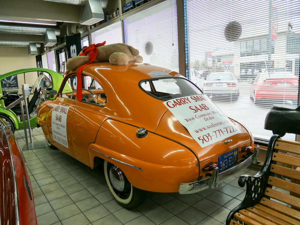 A 1954 Saab 9-2. It has a two-cylinder two stroke engine.