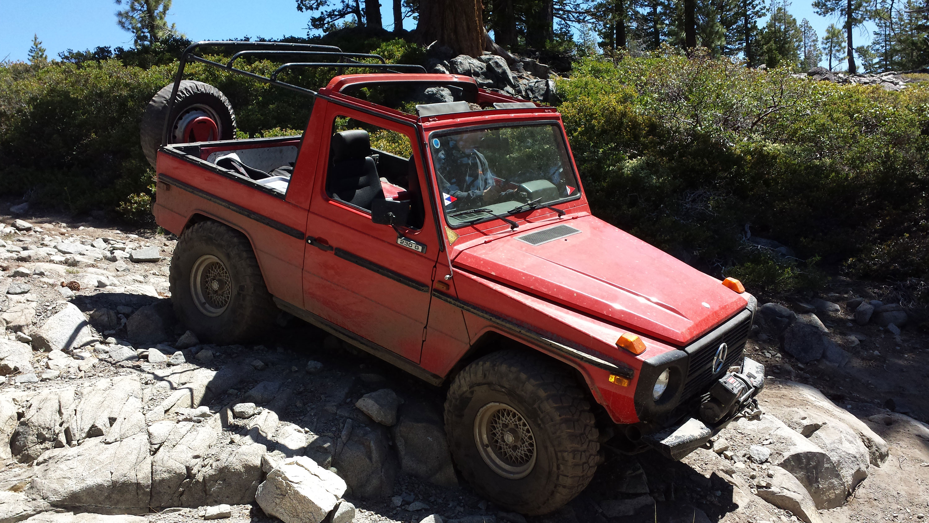 Mike Serpe in a 1980 230G with a four-speed manual on the Rubicon Trail.