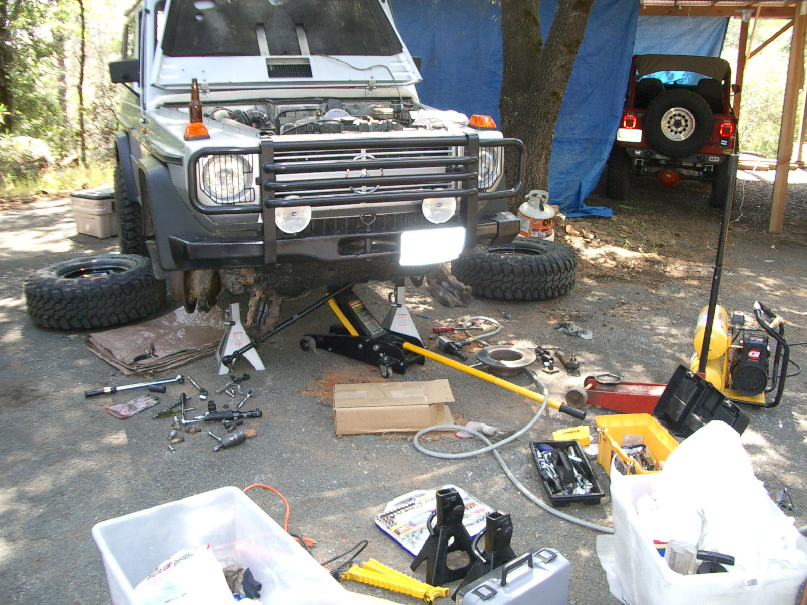 A complete axle rebuild is typical over a weekend with help from club friends.