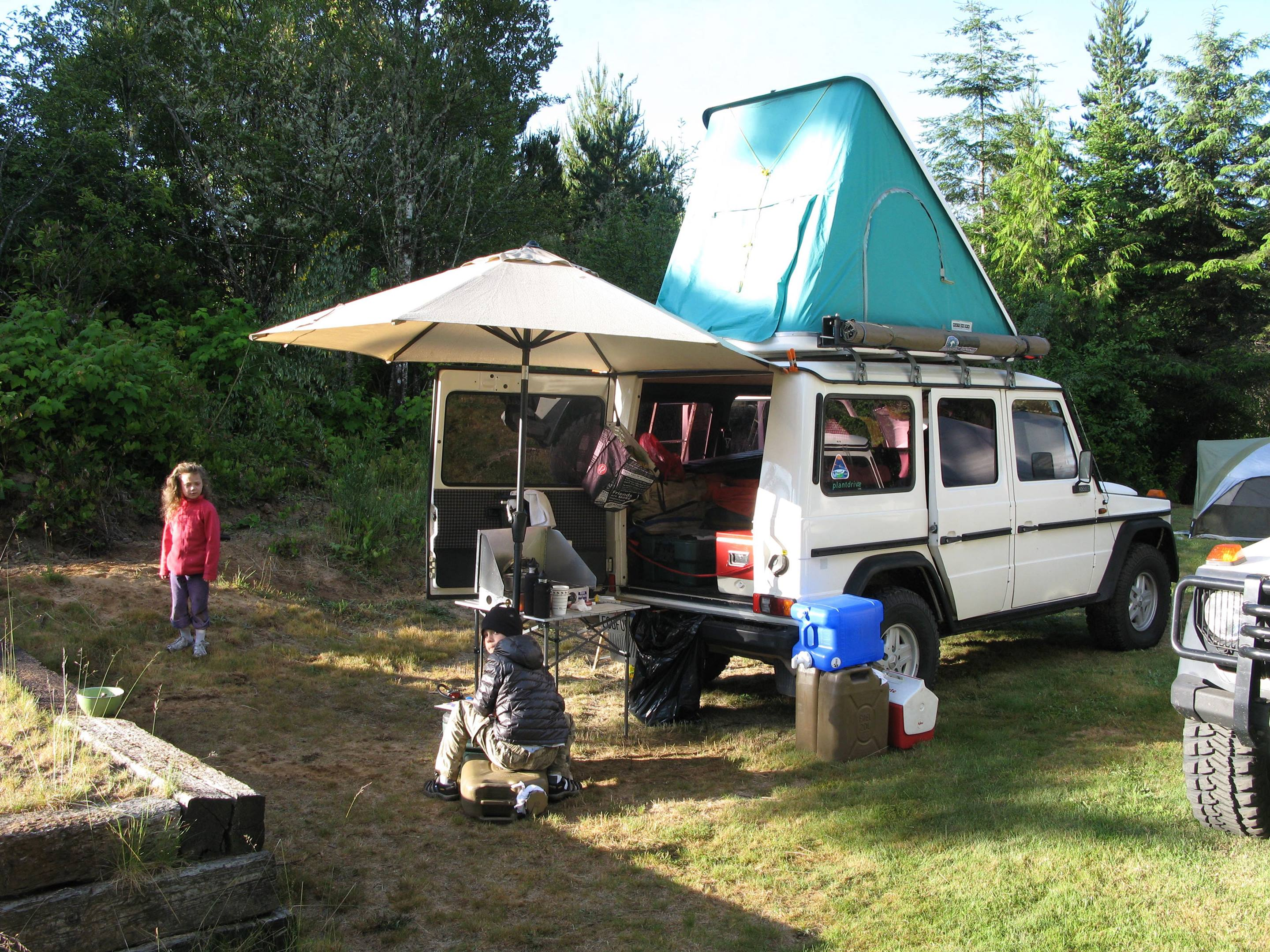 A G-wagen can be made into a very comfy overland camper.