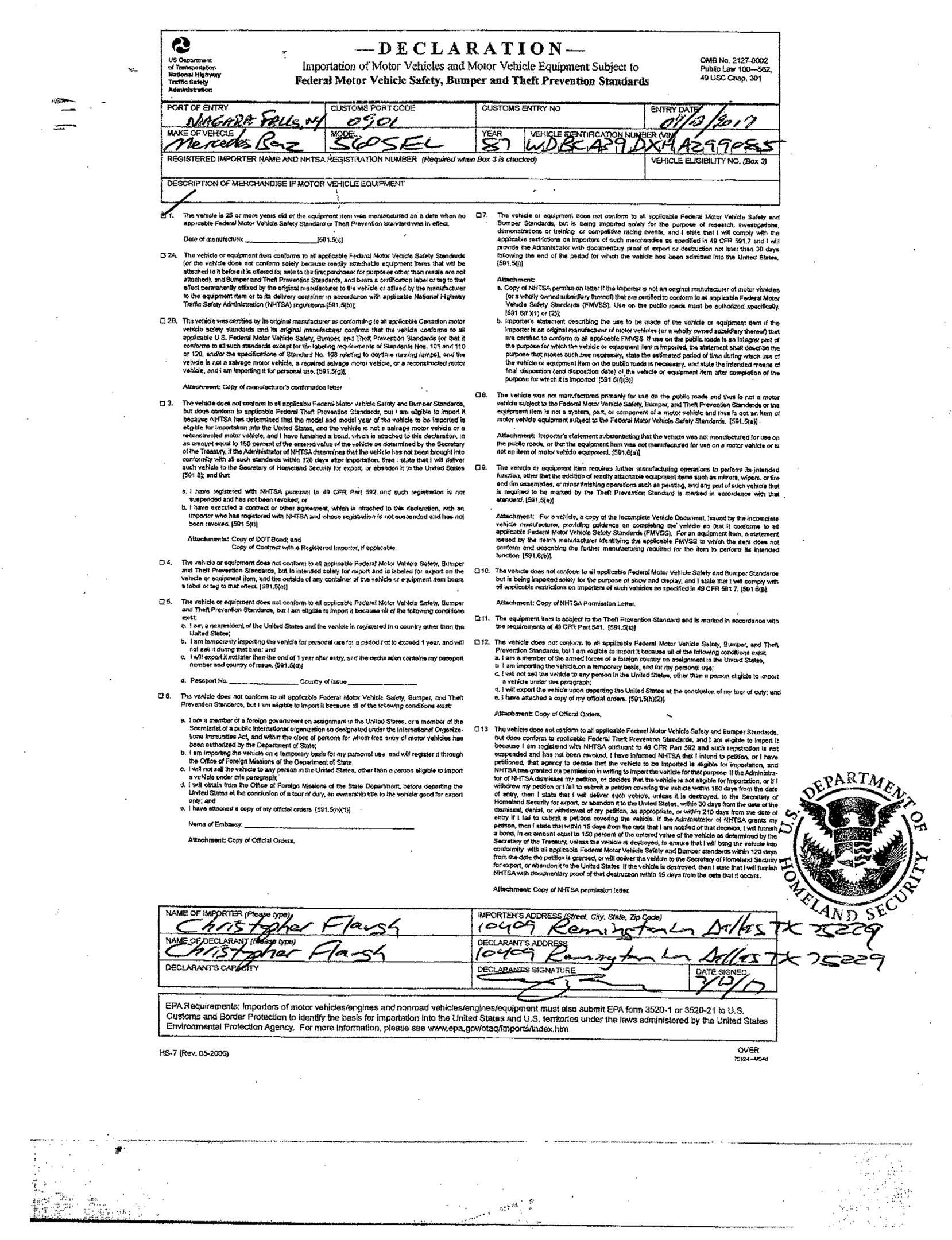 importation documents