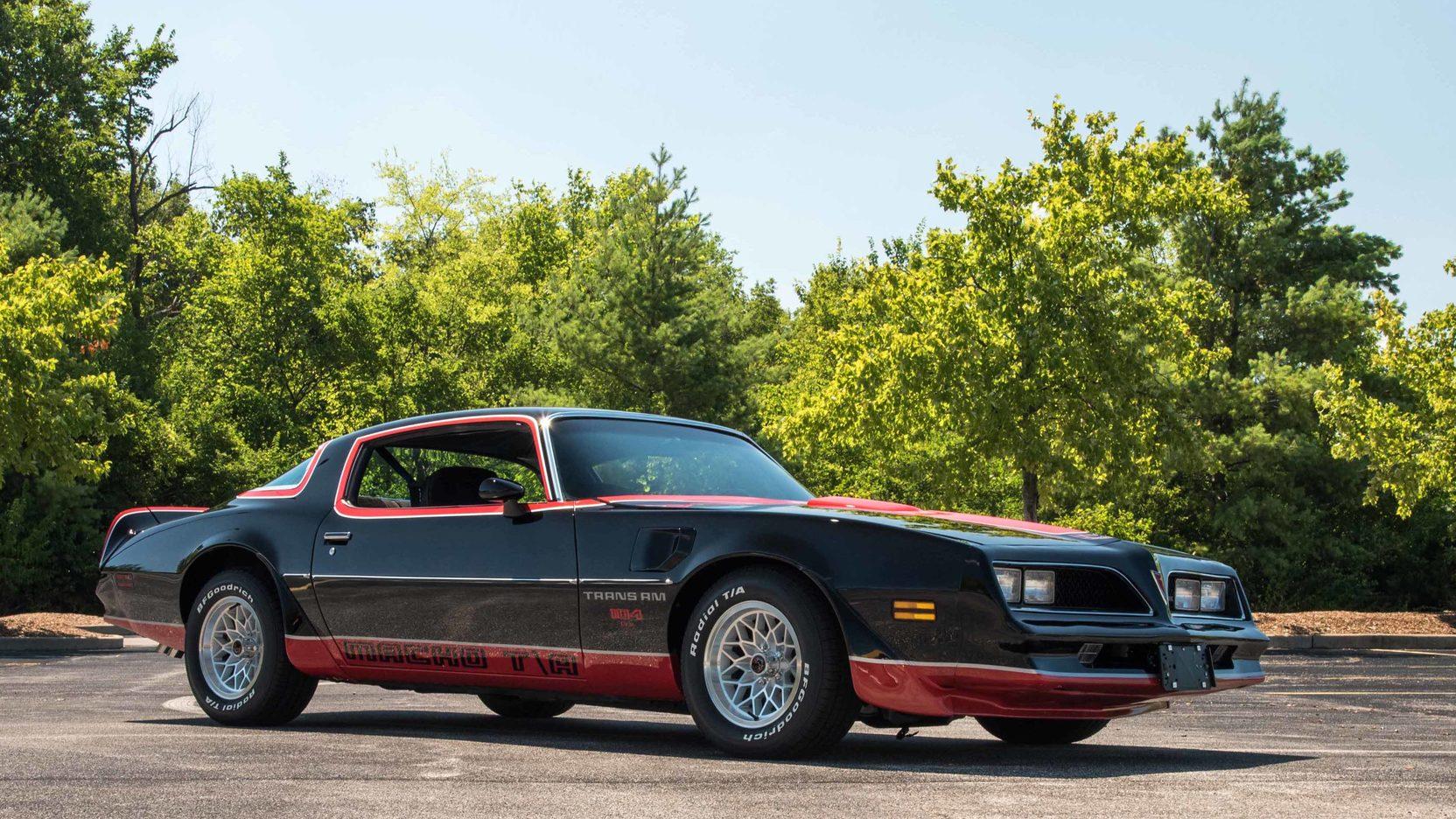 black 1978 Pontiac Macho Trans Am low front 3/4