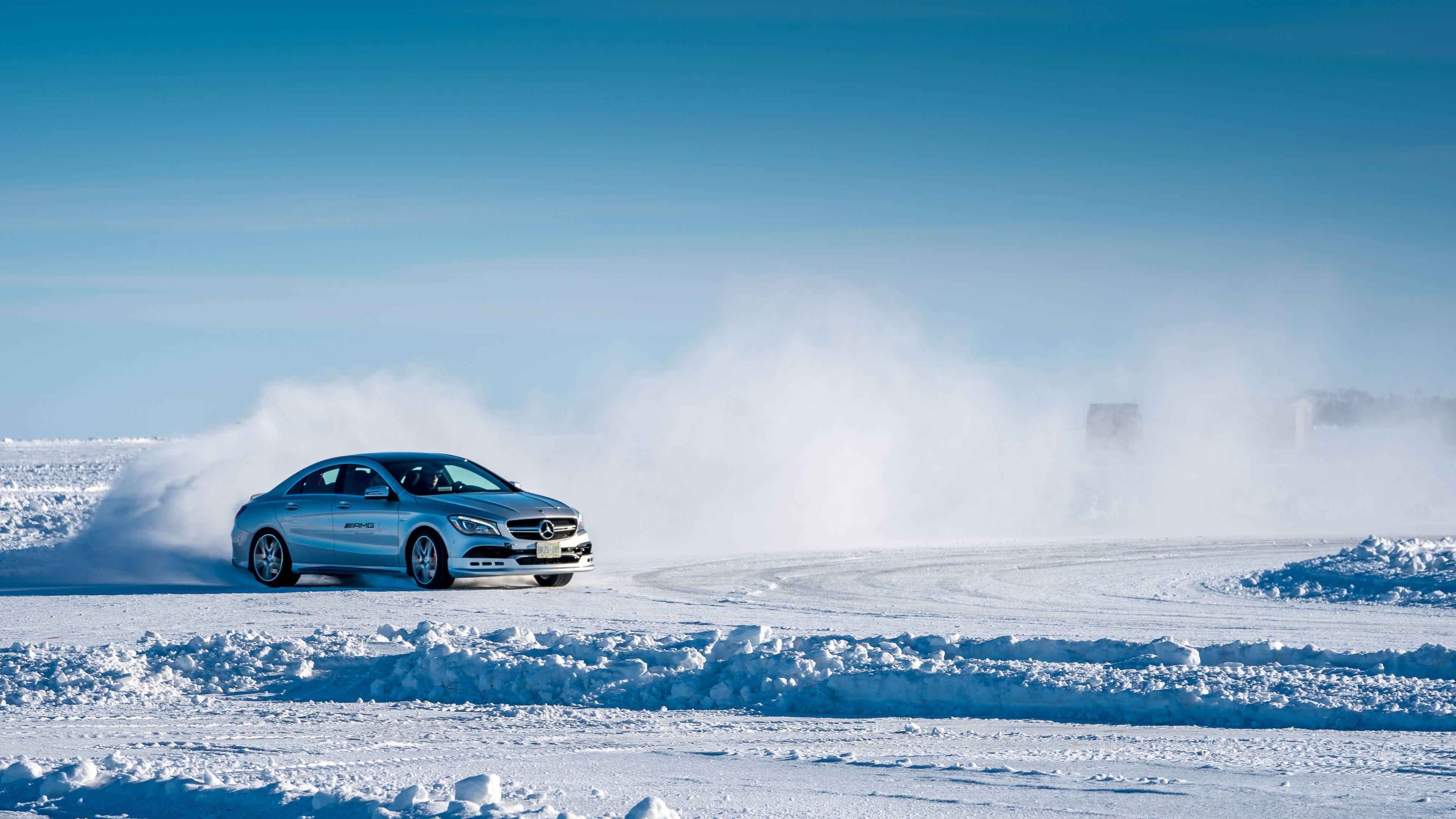 Mercedes-AMG drifting on ice