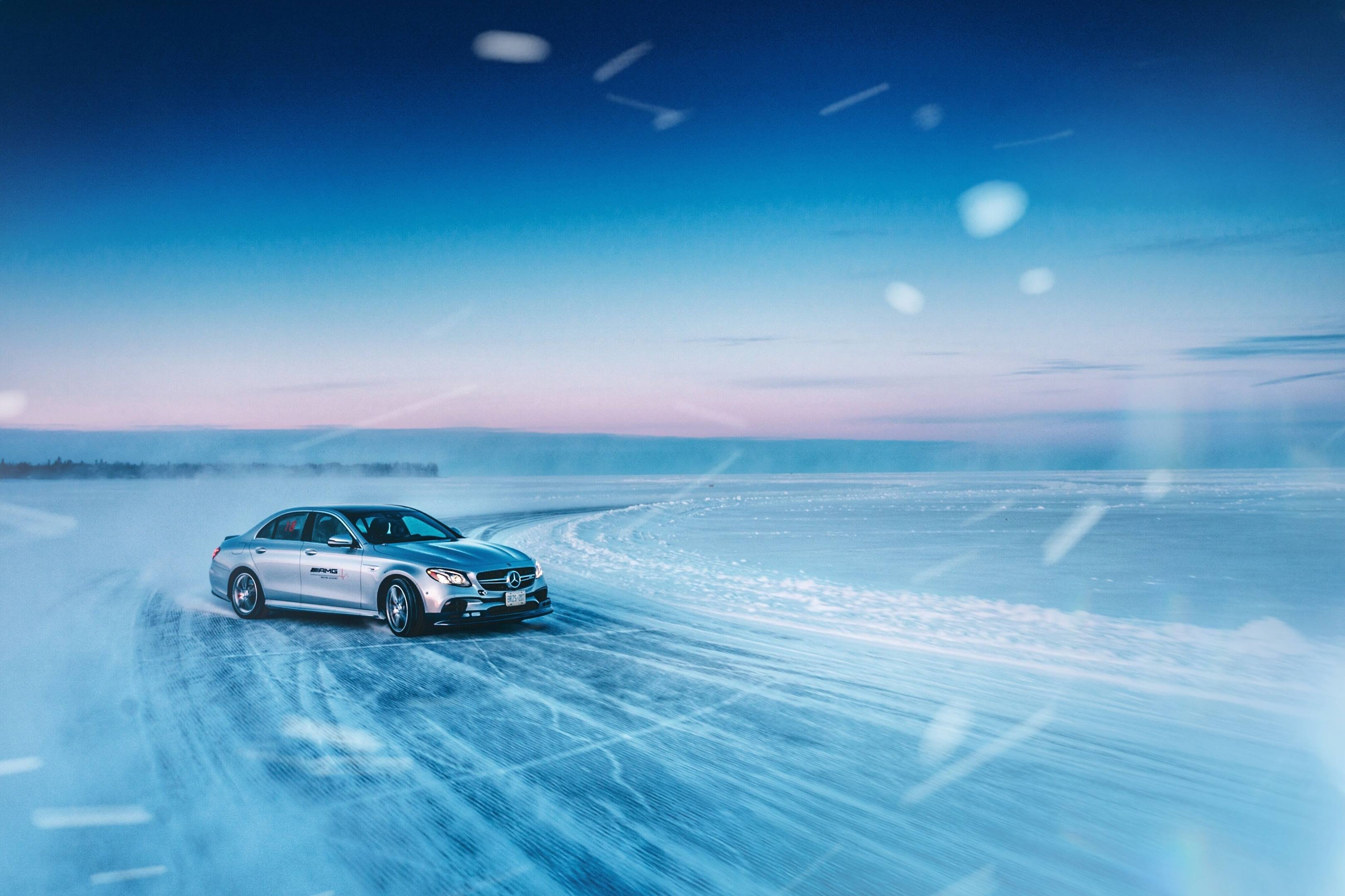 Mercedes-Benz driving on ice