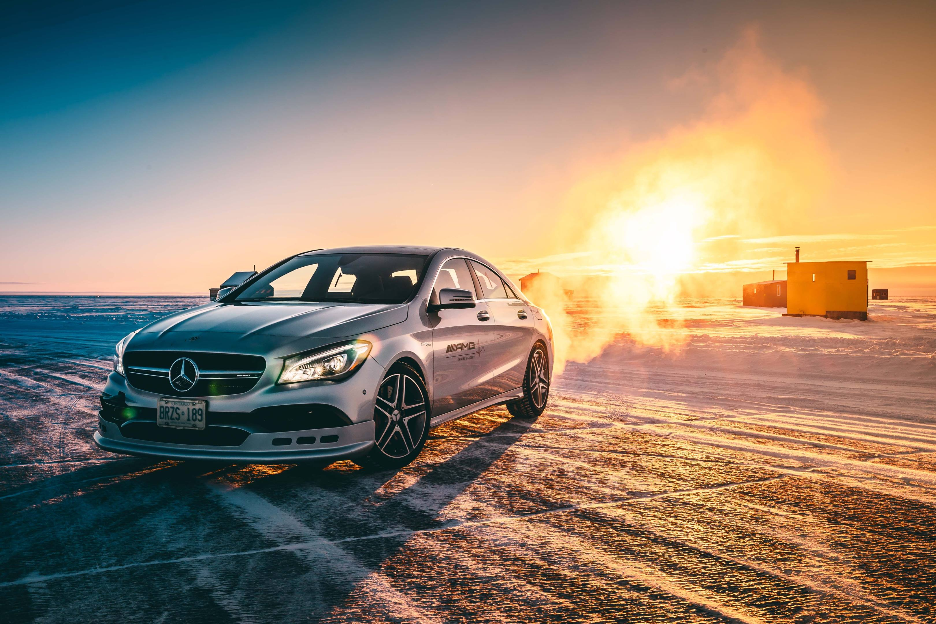 Mercedes-AMG winter driving school at sunset