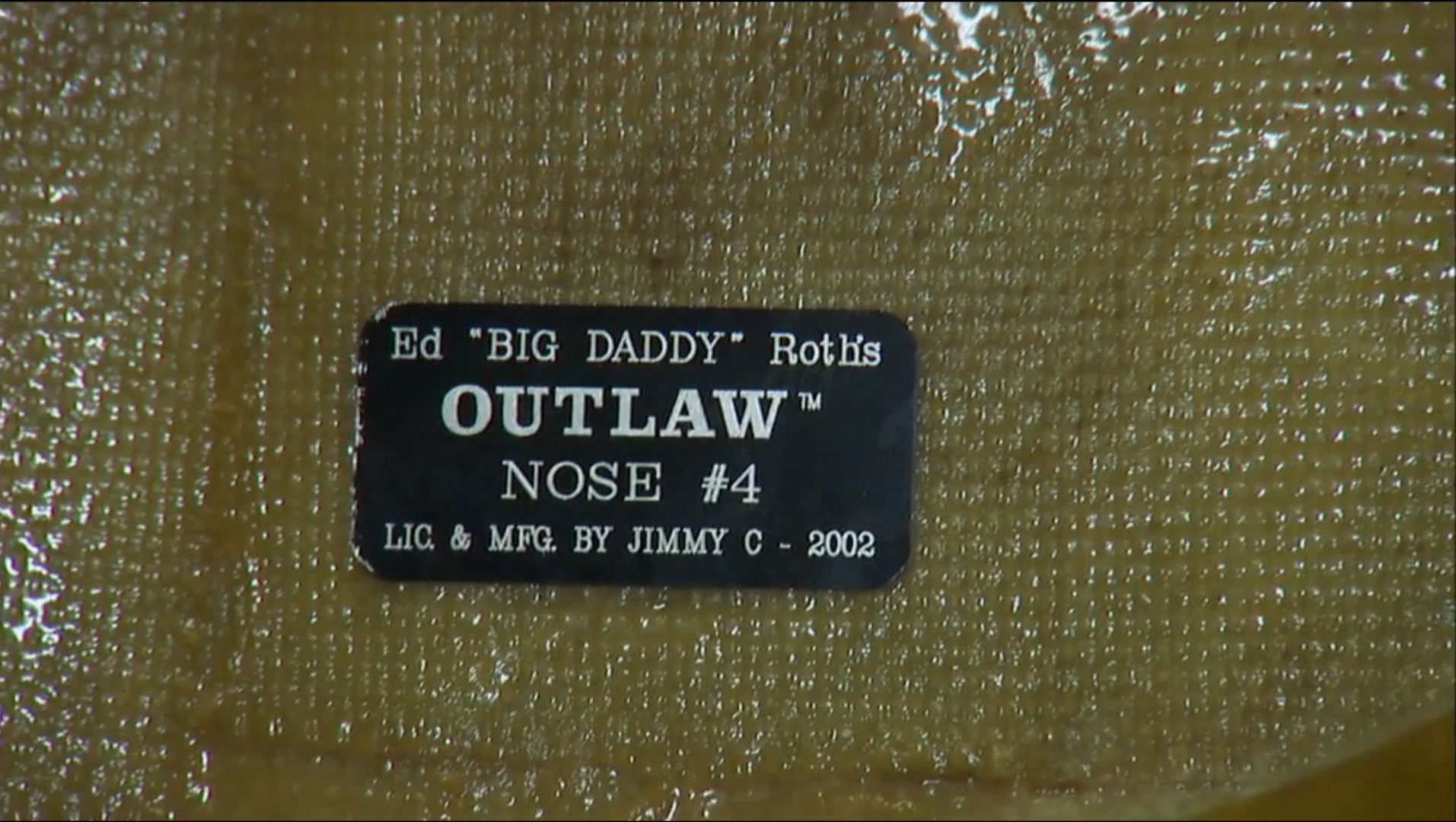 """Ed Roth """"Outlaw"""" nose plaque"""