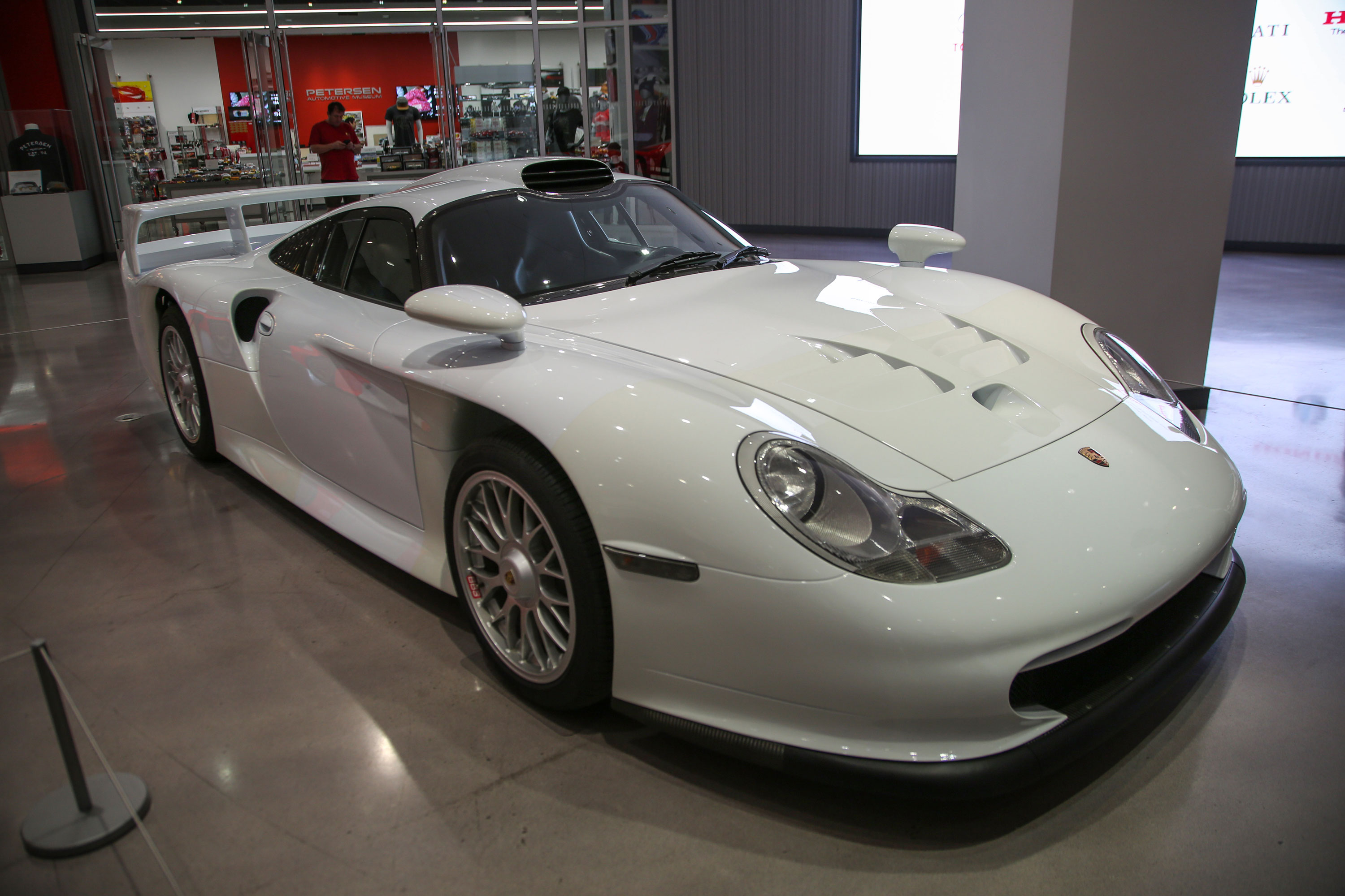 A 1998 911 GT1 Strassenversion is on display just inside the museum's main entrance.