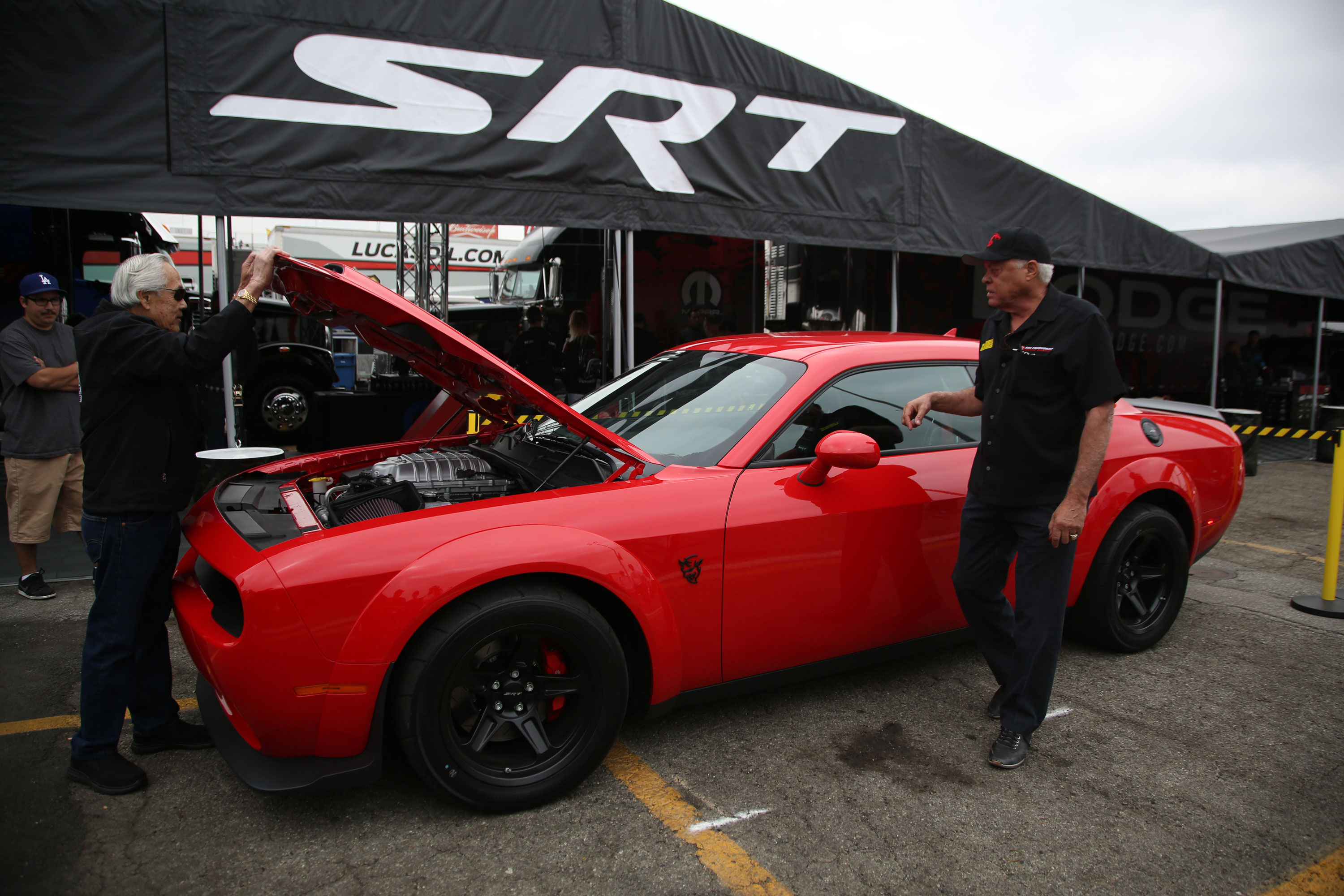 """Prudhomme directs """"the Hawaiian,"""" Roland Leong to shut the hood on the Dodge Demon. """"It's like I'm working for him again,"""" says Leong."""