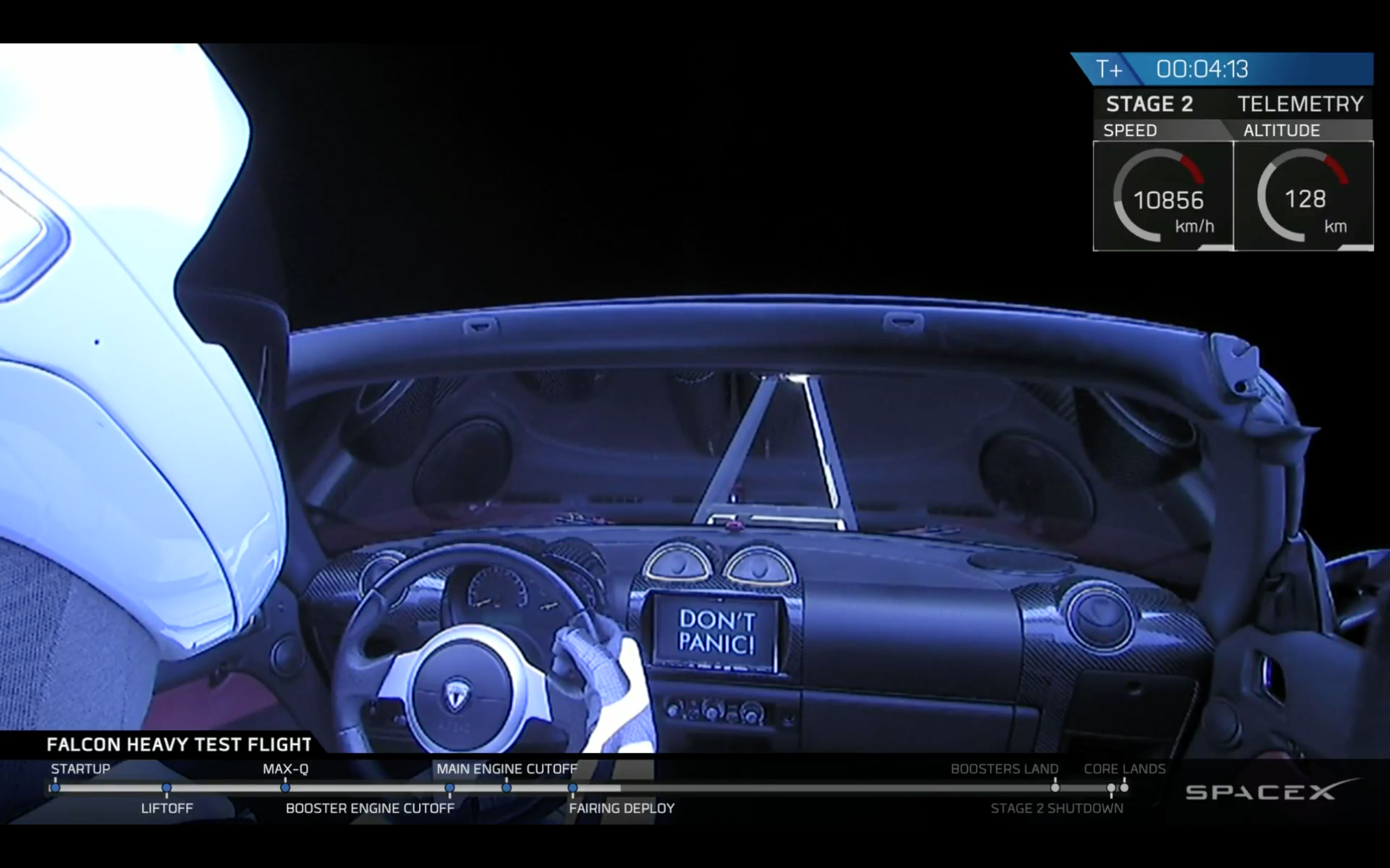 Tesla roadster launched into space by by SpaceX