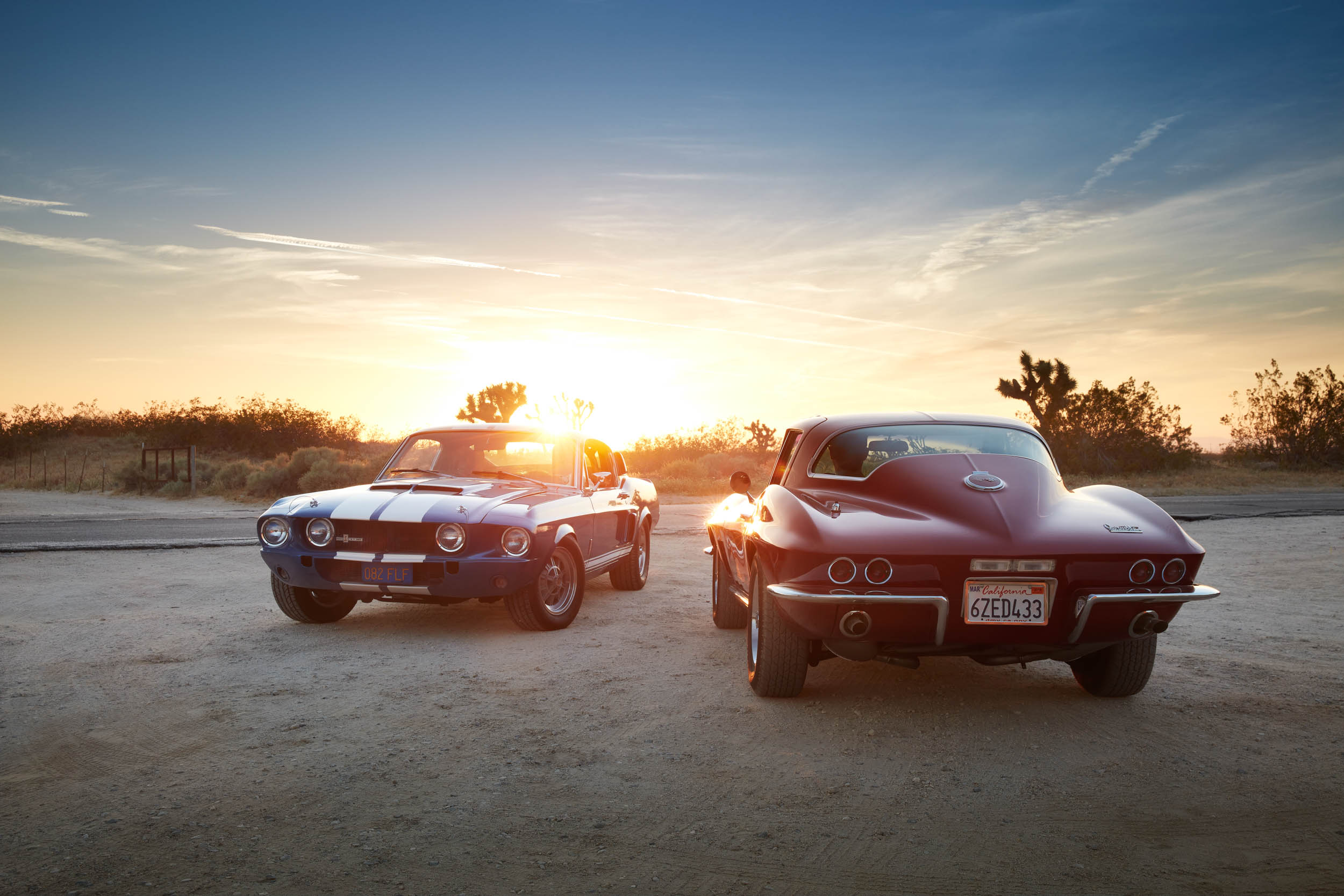 1967 GT350 and Corvette at sunset