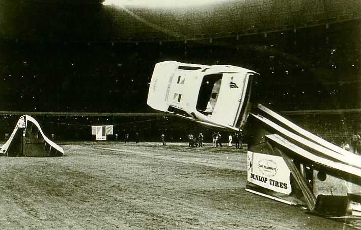 Stunt driver Chick Galiano entertained a packed house in Houston. To aid the roll, a piece on the end of the ramp's left side fell away once the front tire had passed over it.